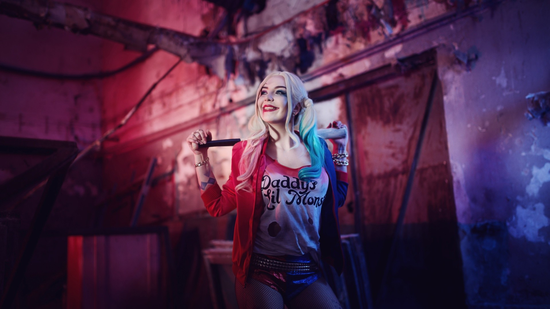 1920x1080 Suicide Squad Harley Quinn Cosplay Costume Wallpaper 12524