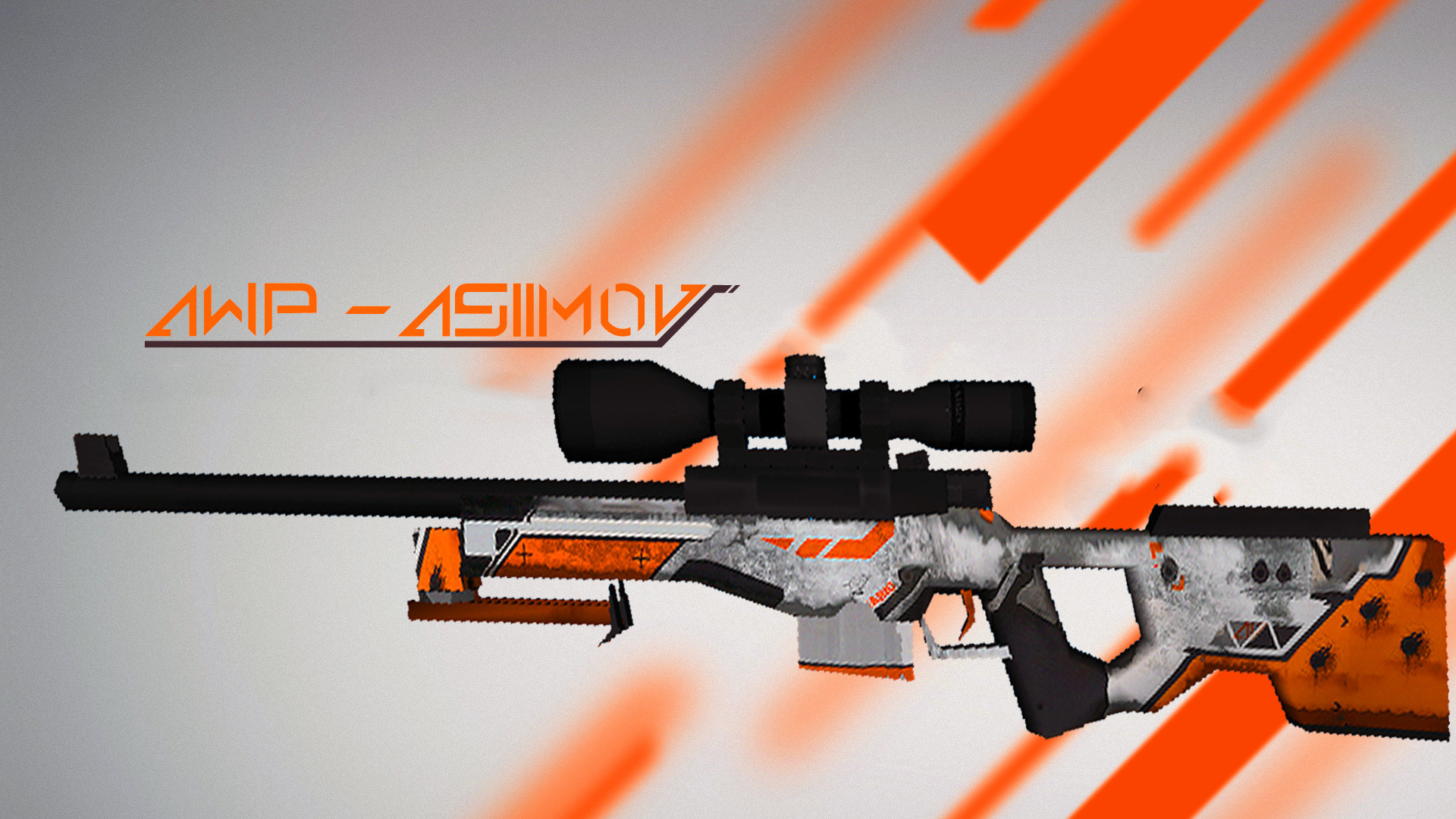 1920x1080 (( Asiimov - AWP [Battle-Scarred] )) rework for cs 1.6 default AWP