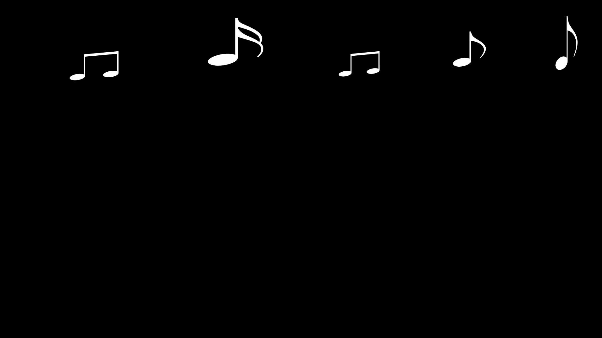 1920x1080 Black Background, White Music Notes
