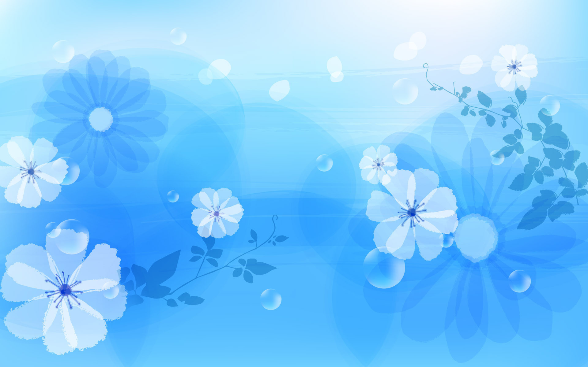 1920x1200 Abstract Flowers Blue Desktop Wallpaper Uploaded by 10Mantra
