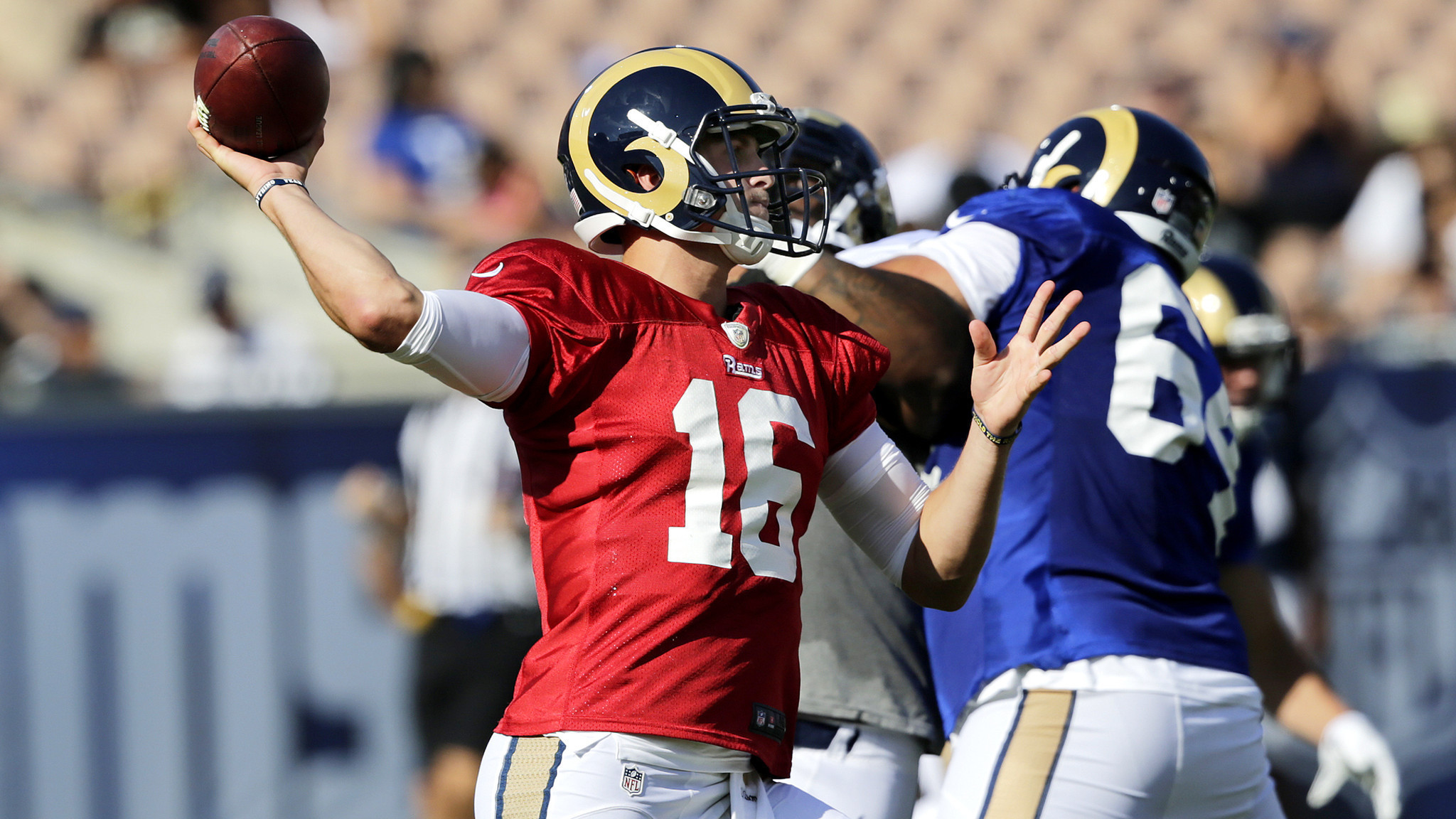 2048x1152 Jared Goff continues to make progress during Rams scrimmage at the Coliseum  - LA Times