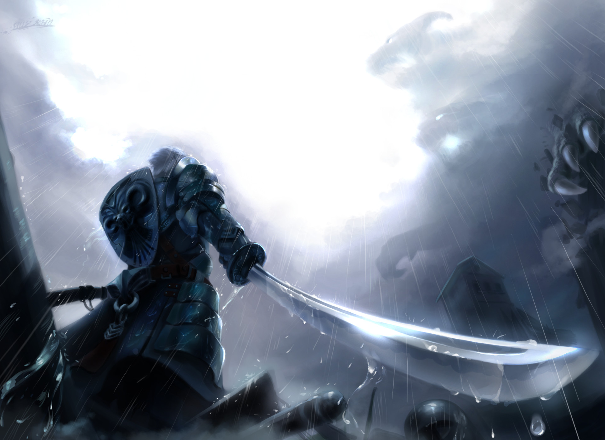1922x1400 Anime - Original Knight Anime Warrior Original (Anime) Cloud Rain Sword  Weapon Armor Shield