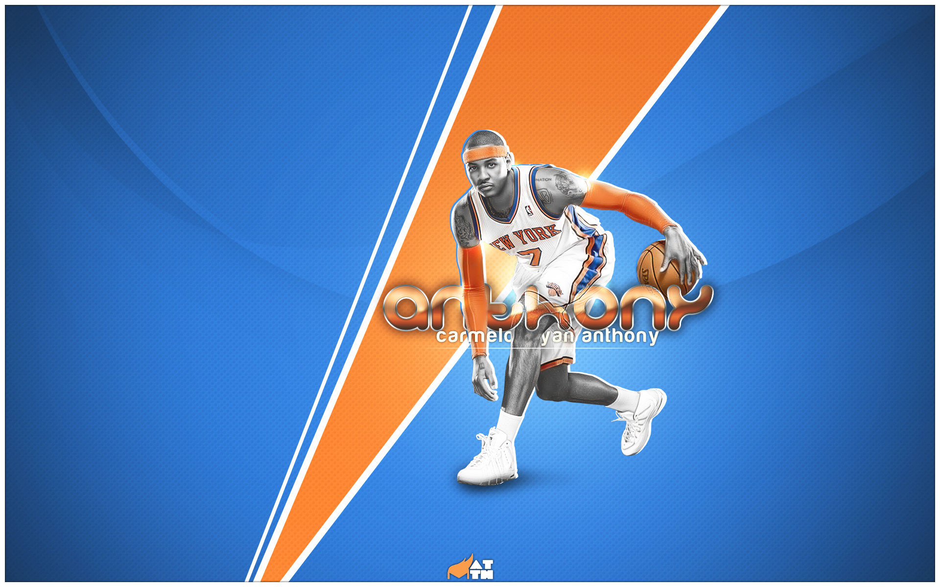 1920x1200 Carmelo Anthony Wallpaper - With Knicks-Colored Background and His Name  Printed, Sure It