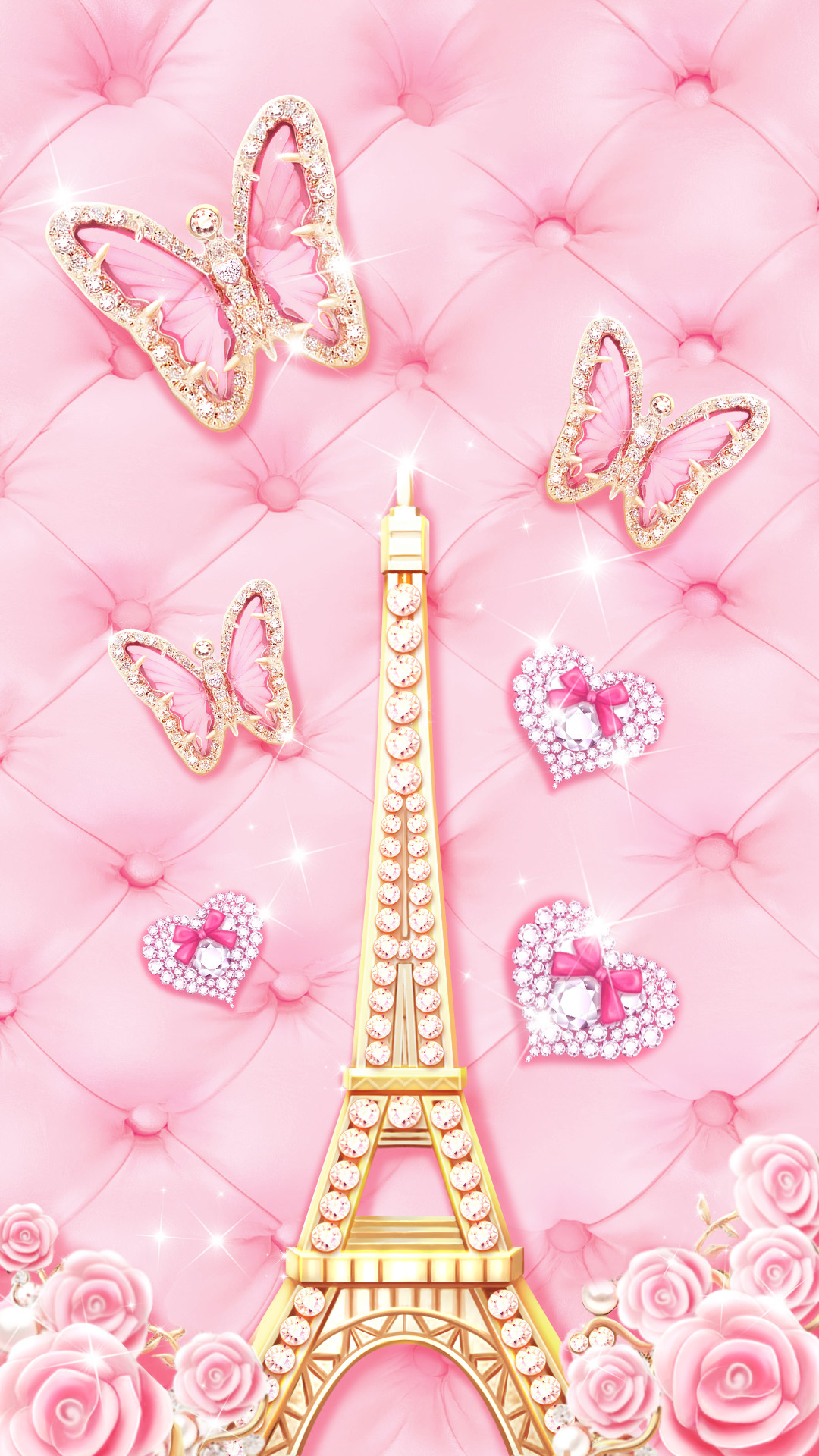 Rose Gold Girly Cute Eiffel Tower Wallpaper