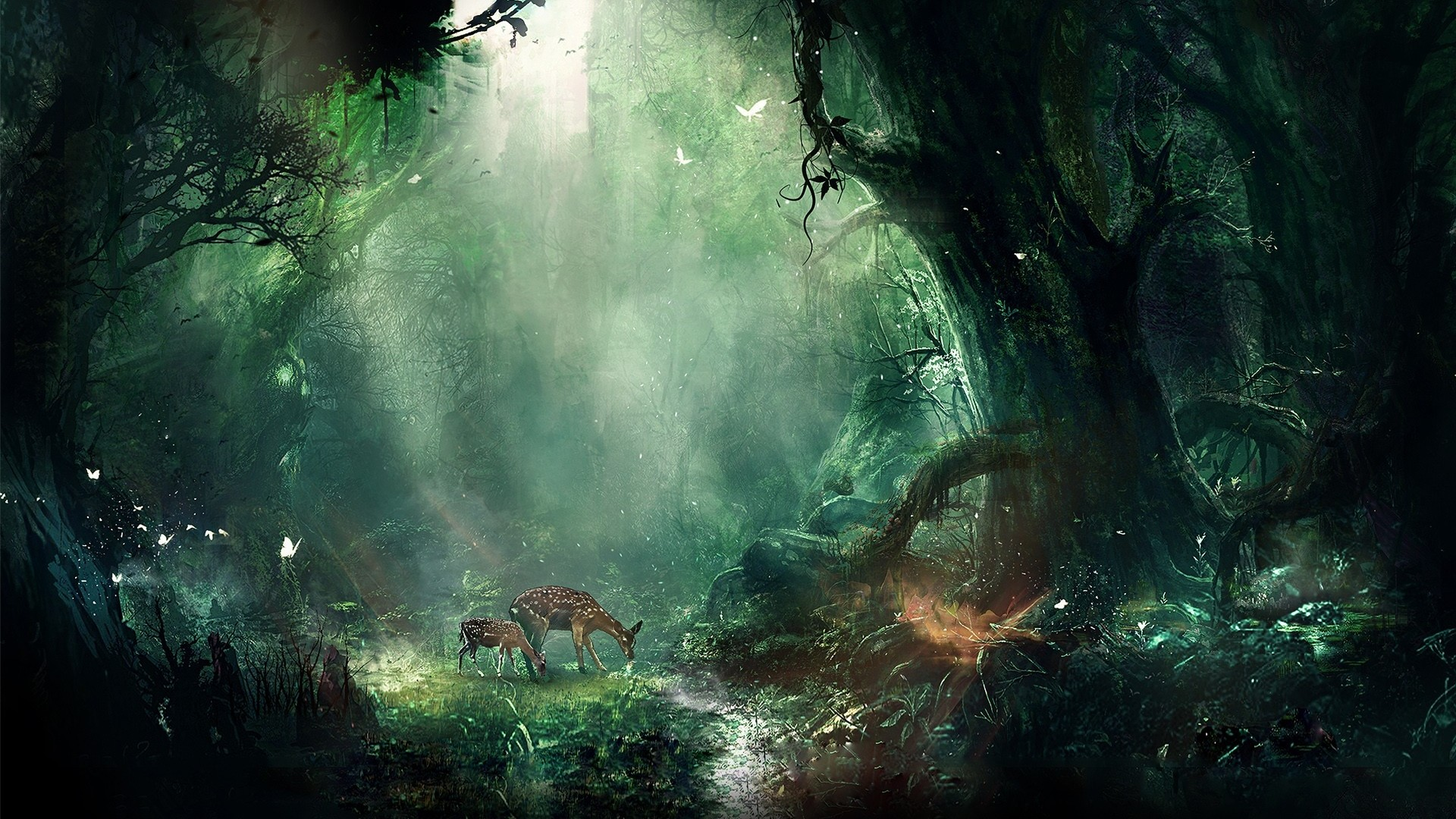 1920x1080 Preview wallpaper jungle, fantasy, deer, butterflies, night, trees