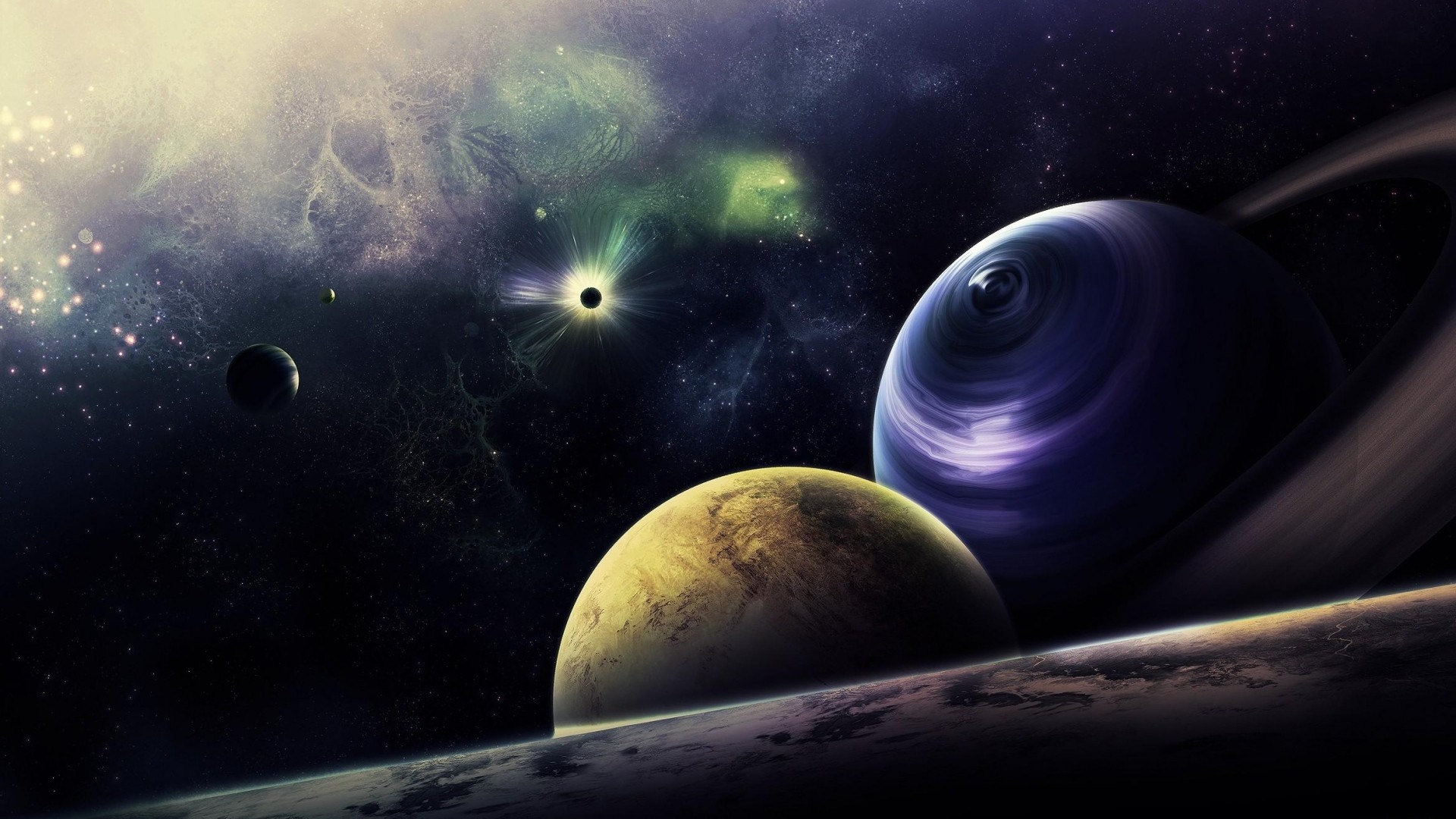 1920x1080 Preview wallpaper planets, circle, flash, radiance, galaxy
