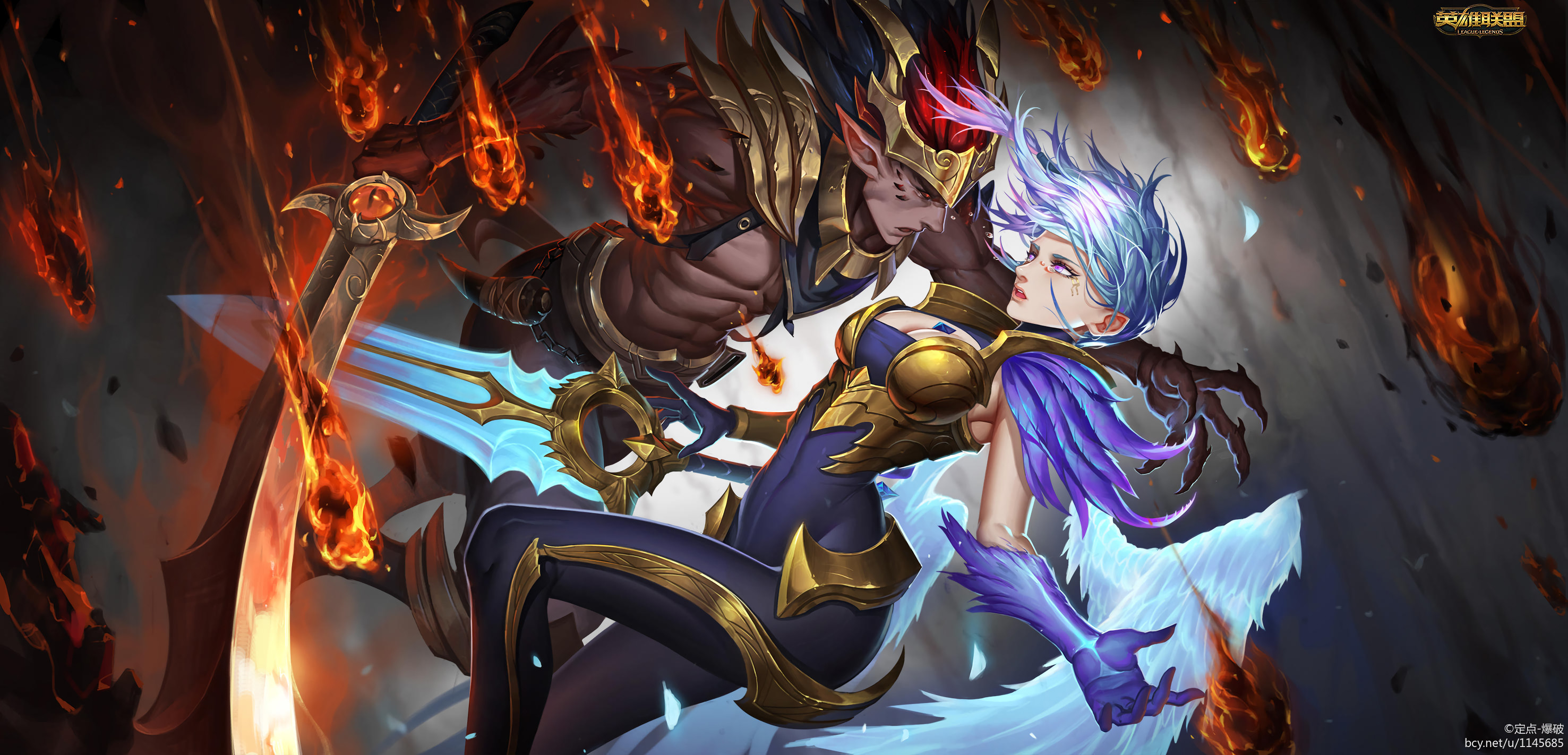 2953x1422 Dawnbringer Riven & Nightbringer Yasuo by 定点-爆破 HD Wallpaper Background Fan  Art Artwork League