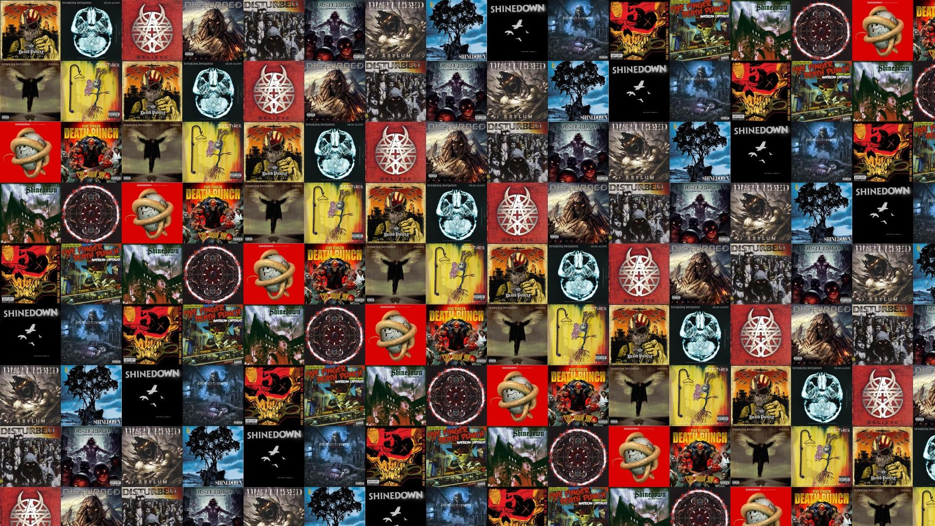 1920x1080 Download this free wallpaper with images of Five Finger Death Punch – War  Is The Answer, Breaking Benjamin – Dear Agony, Disturbed – Beleive, ...