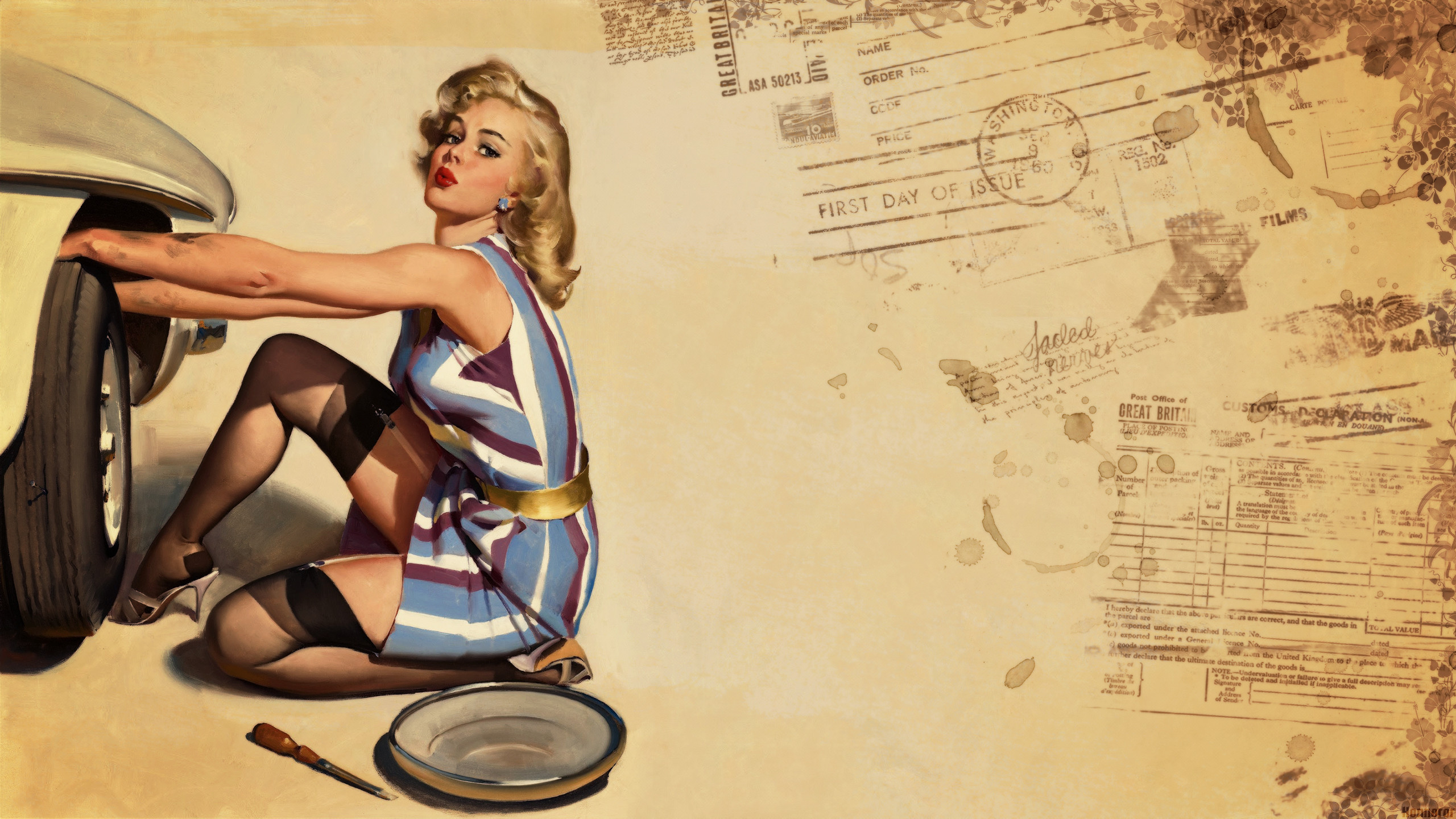 2560x1440 Pin up Wallpaper Style Retro Girls Honnoror Wallpapers