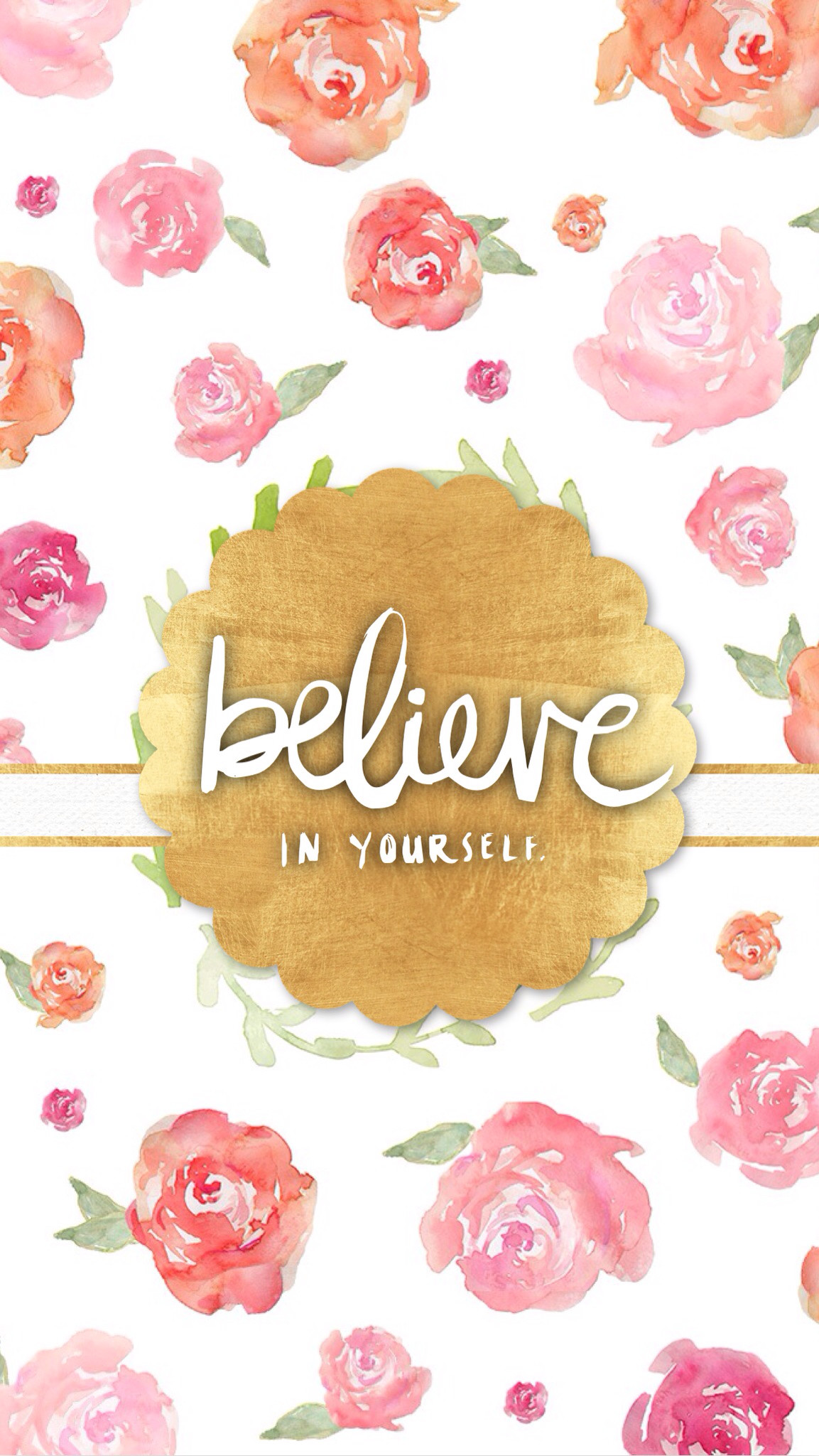 1153x2048 Pink watercolour floral roses gld Believe iphone phone wallpaper background  lockscreen