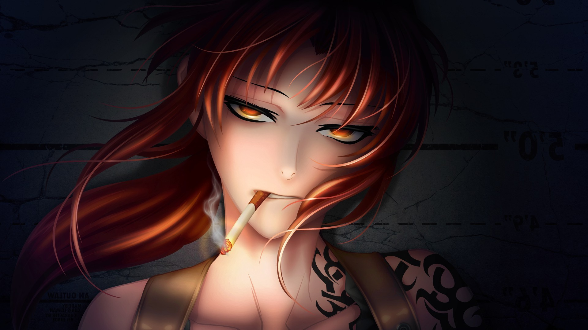 1920x1080 anime, Badass, Tattoo, Anime Girls, Cigarettes, Redhead, Red Eyes, Revy,  Black Lagoon Wallpapers HD / Desktop and Mobile Backgrounds