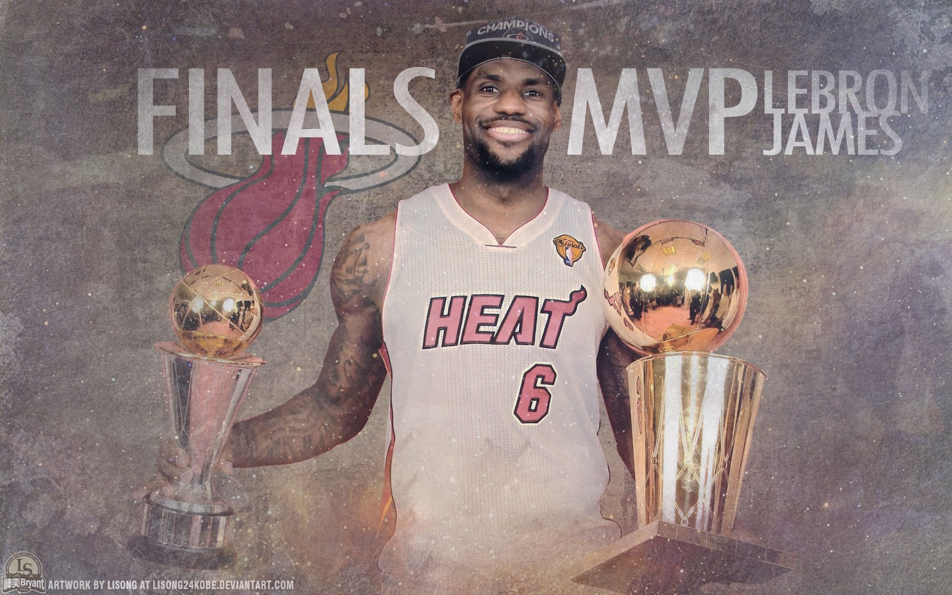 1920x1200 Lebron James Holding Championship Trophy