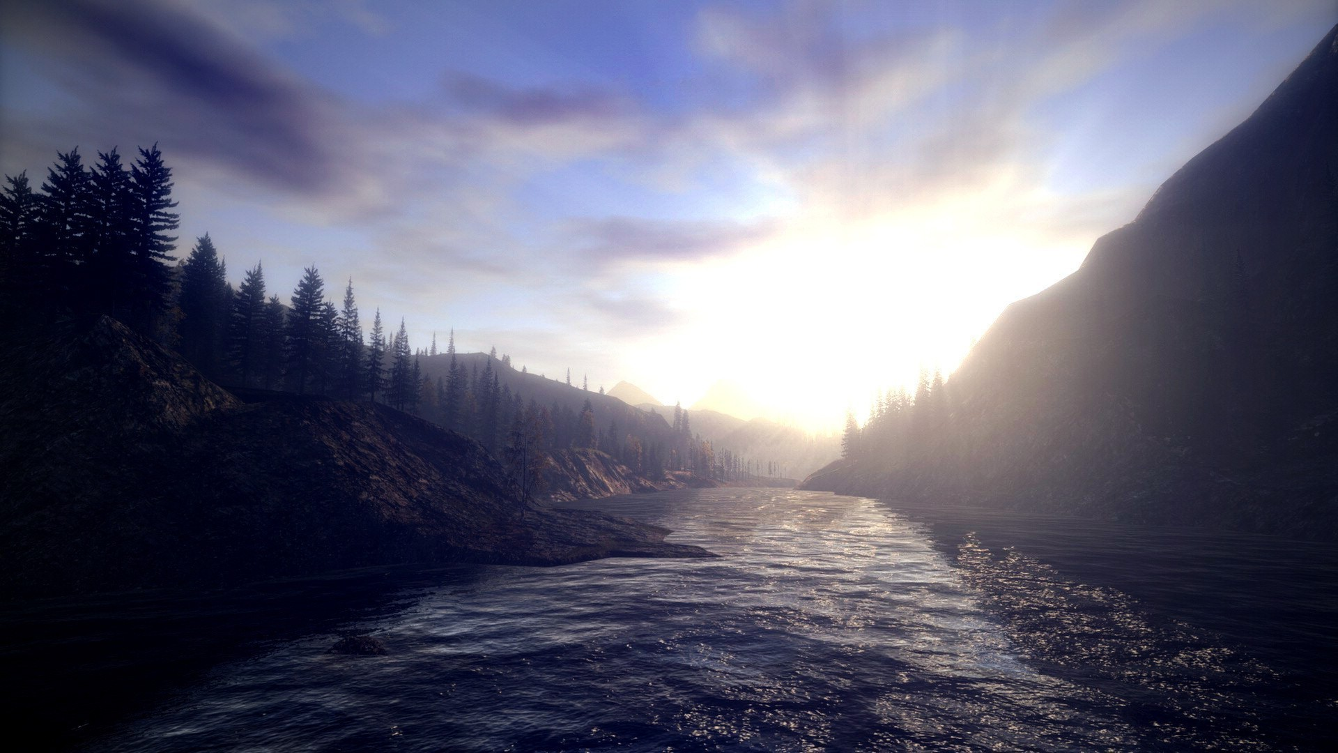 1920x1080 Alan wake landscapes sunlight trees wallpaper