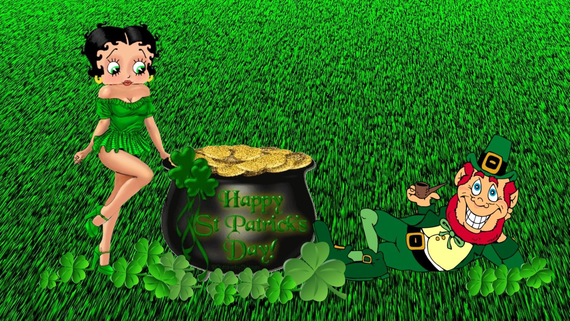 1920x1080 Betty Boop Wishes You Happy Saint Patrick's Day HD Wallpaper