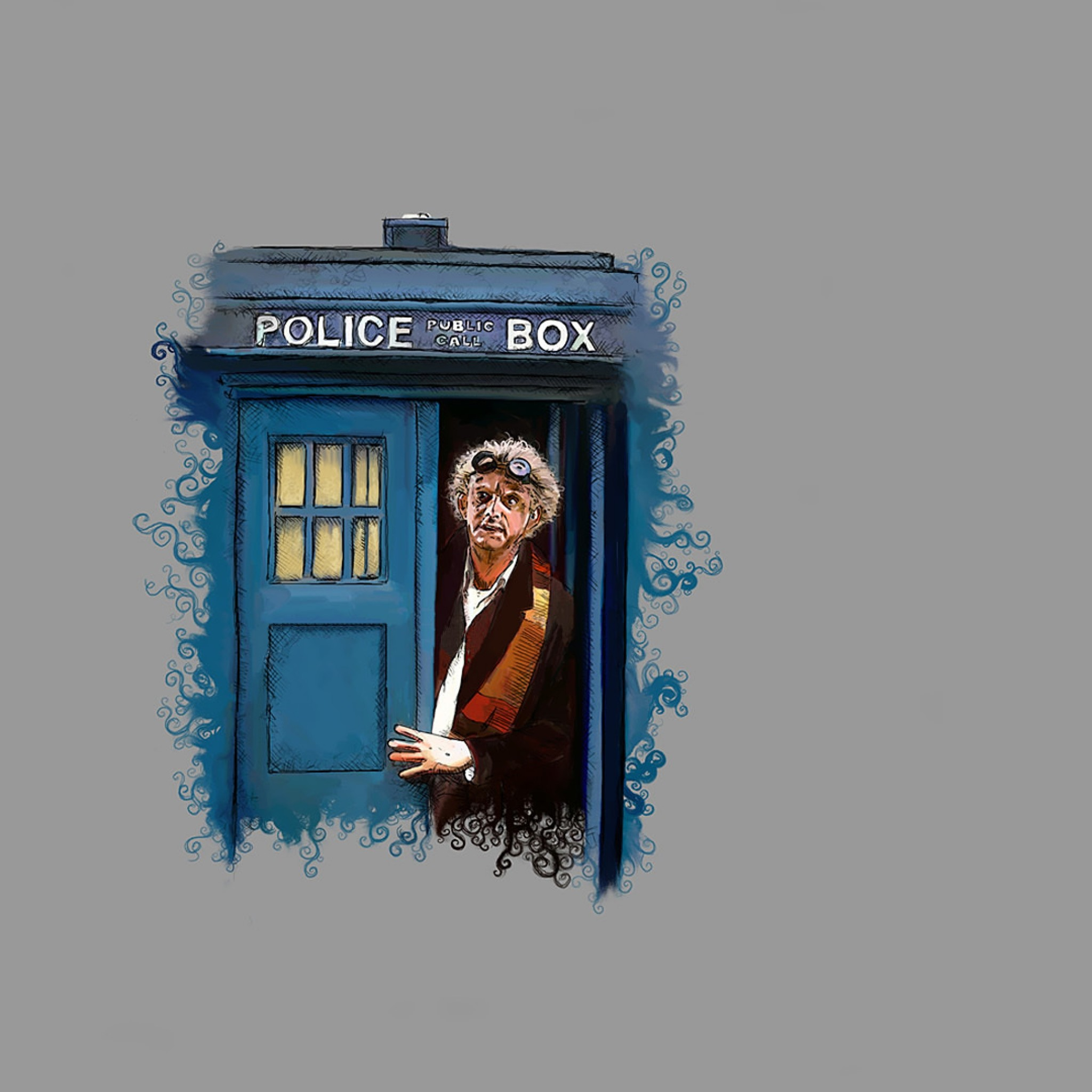 2048x2048 Preview wallpaper doctor who, back to the future, art