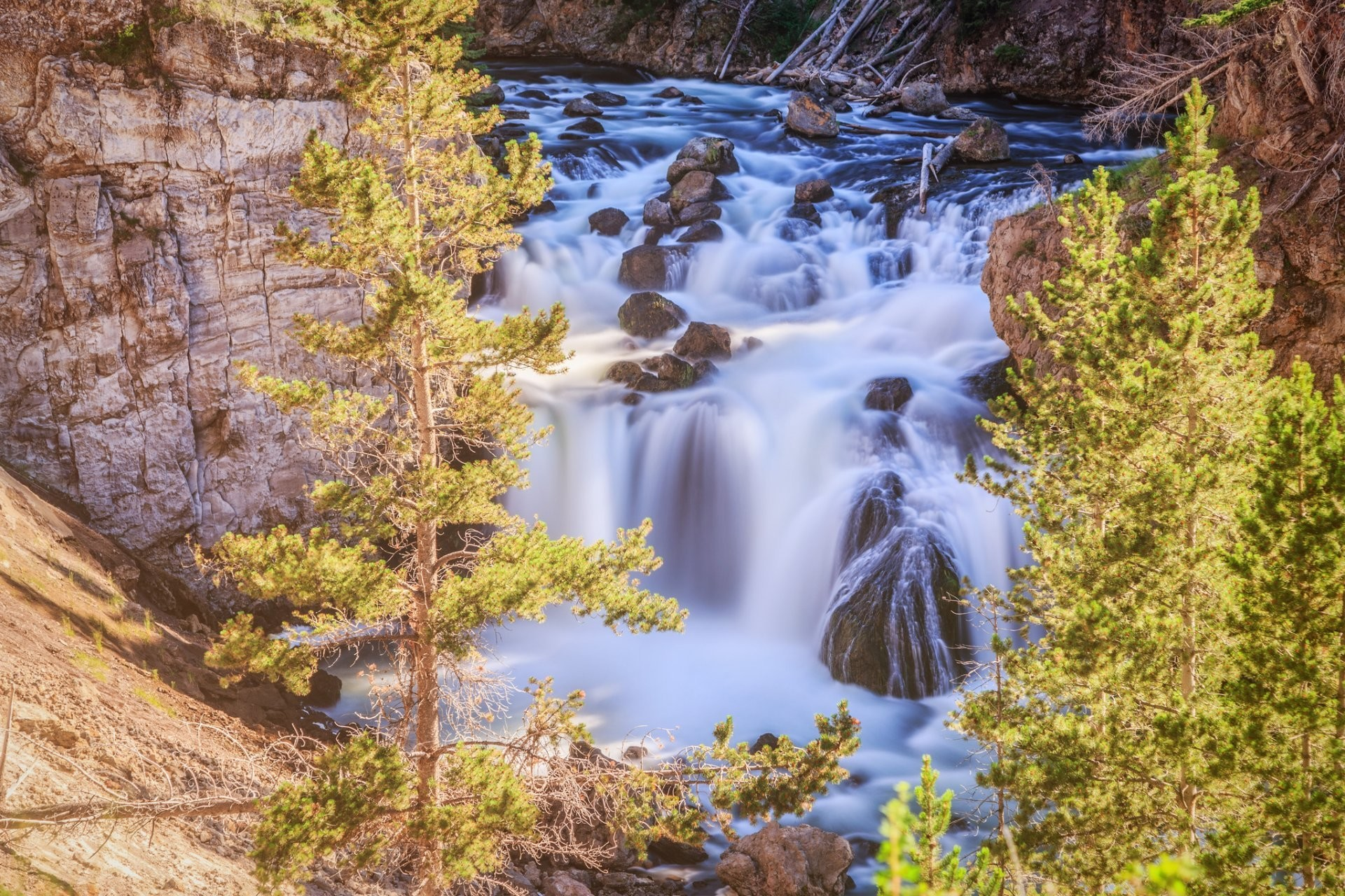 1920x1280 firehole falls yellowstone national park wyoming yellowstone waterfall tree  stones rock HD wallpaper