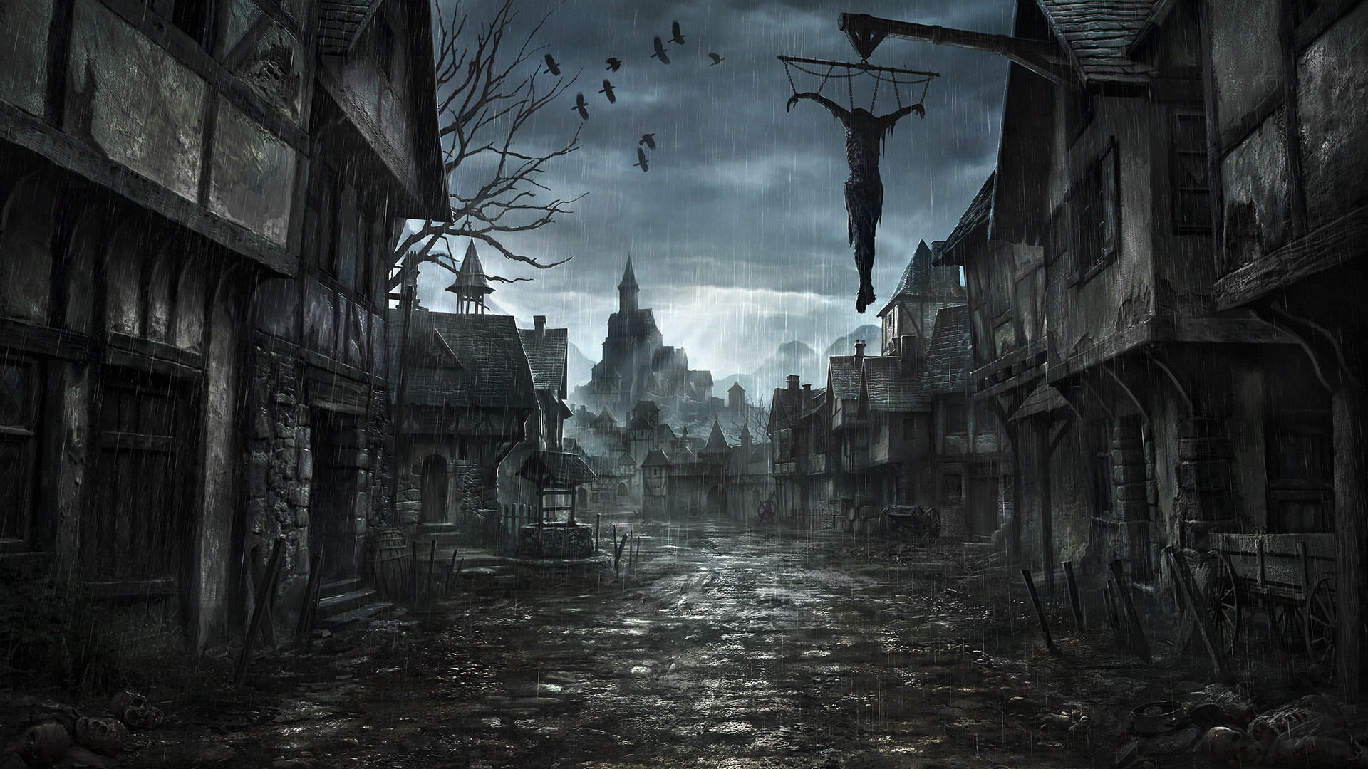 1920x1080 middle-ages jonasdero_deviantart_com jonasdero dark horror scary creepy  spooky cities buildings architecture cg digital-