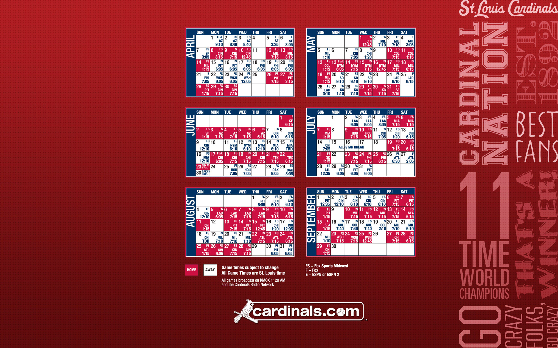 1920x1200 St Louis Cardinals Calendar 2013 1920×1200 Wallpaper