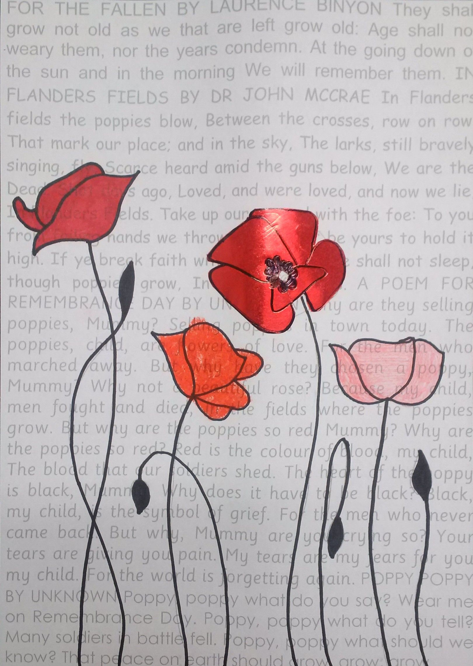 1620x2284 Remembrance Day art with poems in the background. Poppies drawn over the  top - using different media to create each poppy.