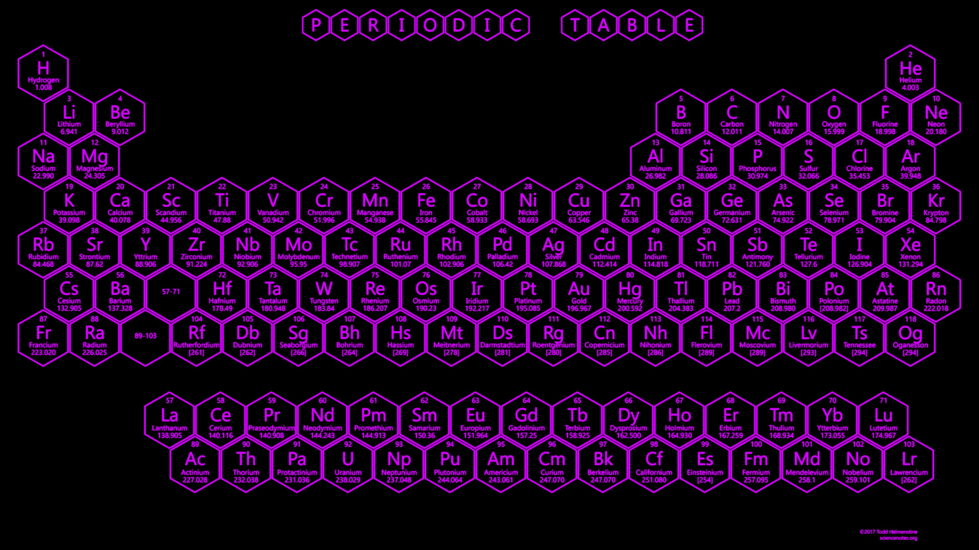 1920x1080 purple neon honeycomb periodic table 2017 edition download 1920x1080