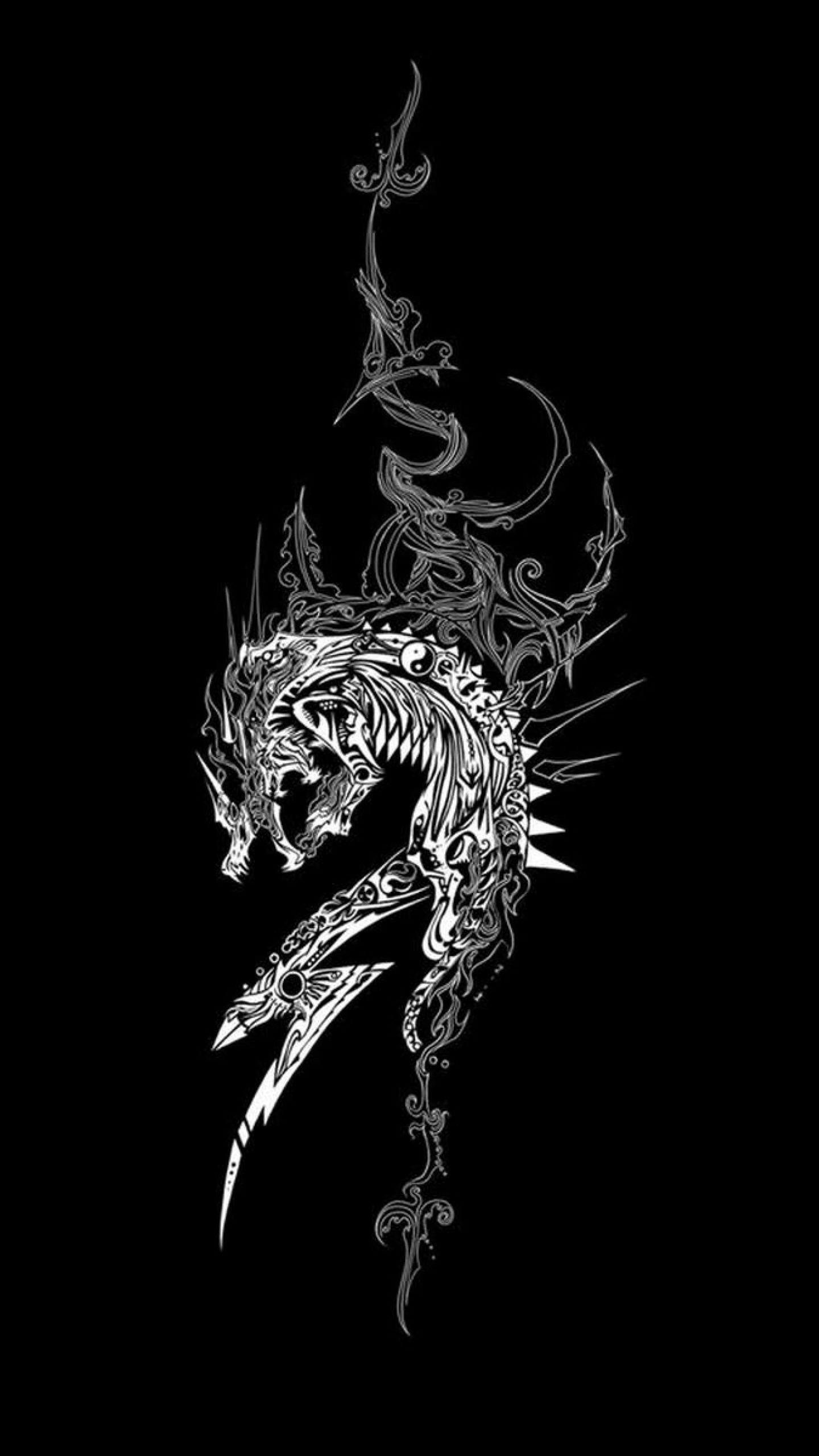 1440x2560 Preview wallpaper dragon, dark background, patterns