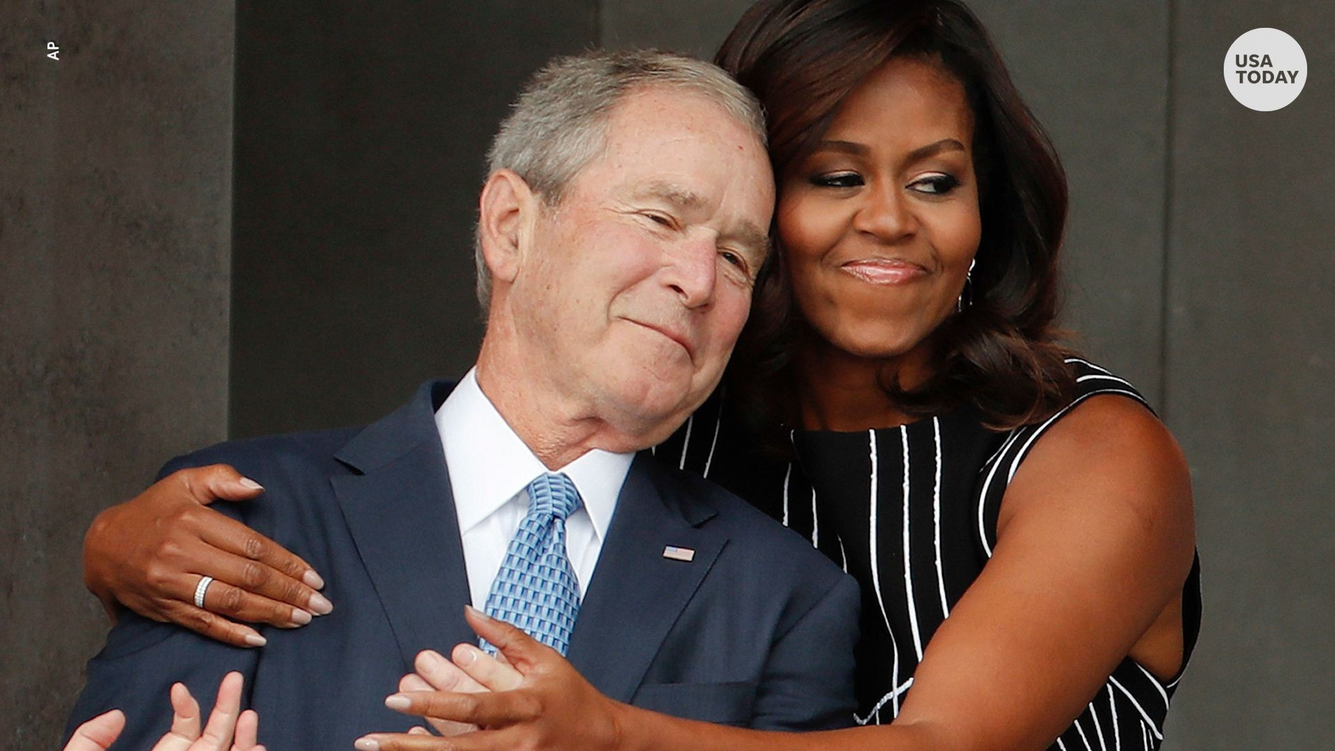 1920x1080 Michelle Obama and George W. Bush's friendship through the years