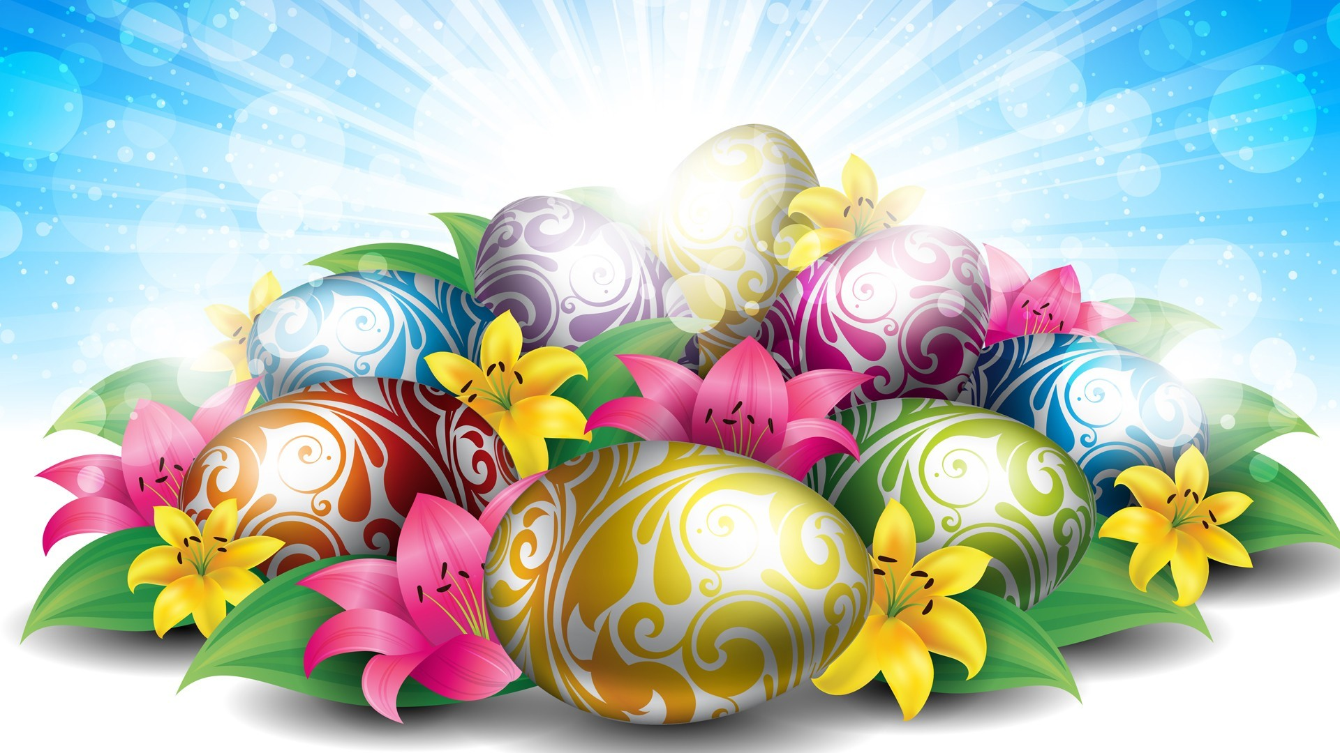 1920x1080 hd wallpaper lilies eggs for easter - Background Wallpapers for your .