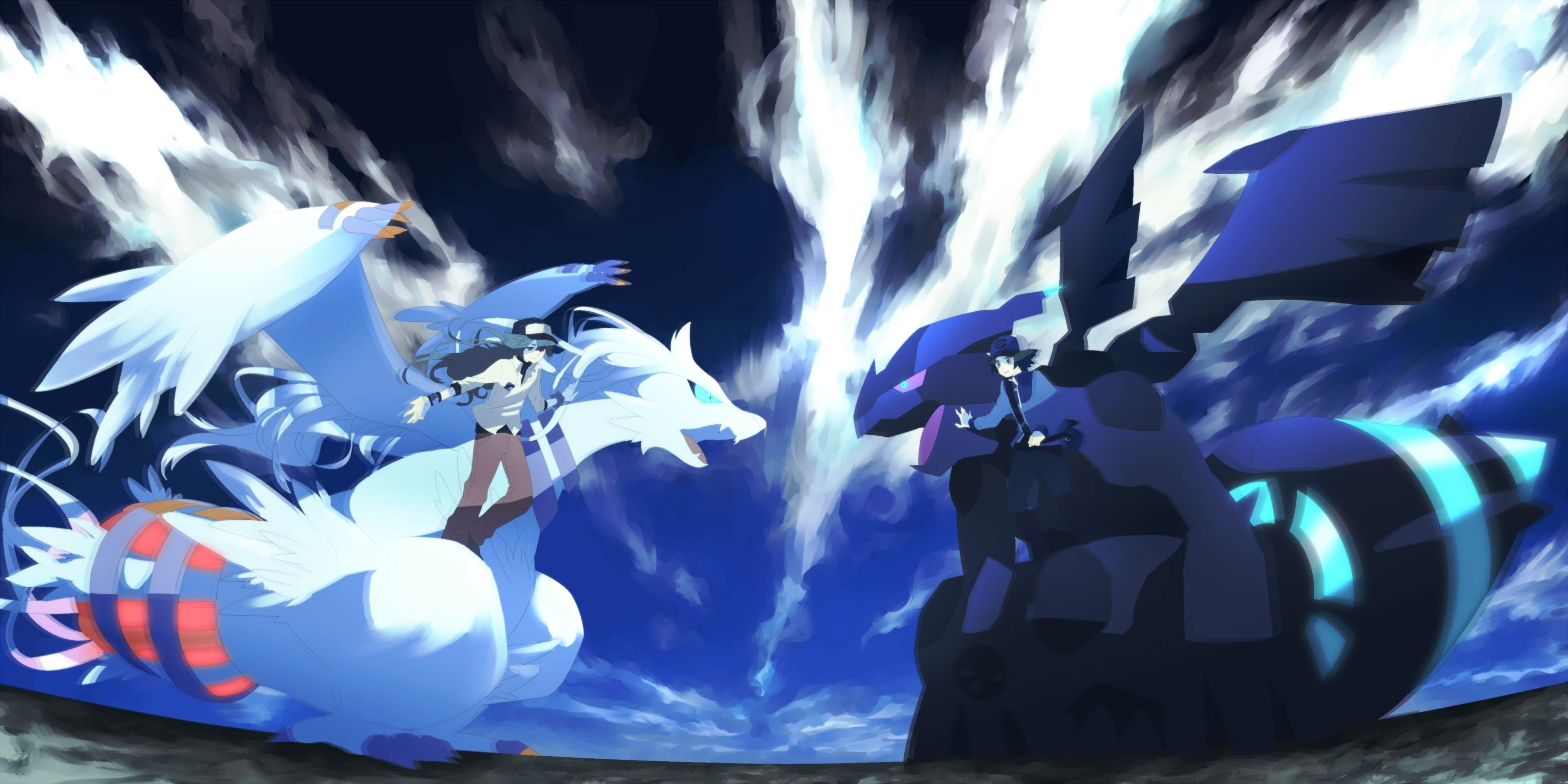 3219x1610 Zekrom vs Reshiram Wallpaper - Pokemon Wallpaper () (79259)