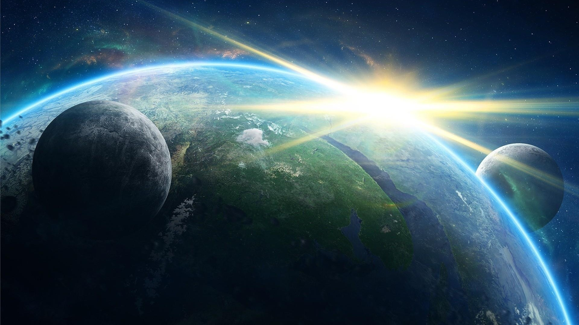 1920x1080  Wallpaper planet, galaxy, light, rays, stars