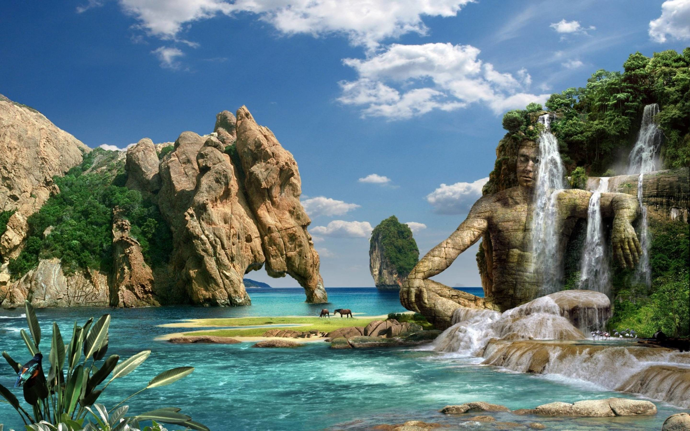 3D Ocean Landscape Desktop Wallpaper (48+ images)