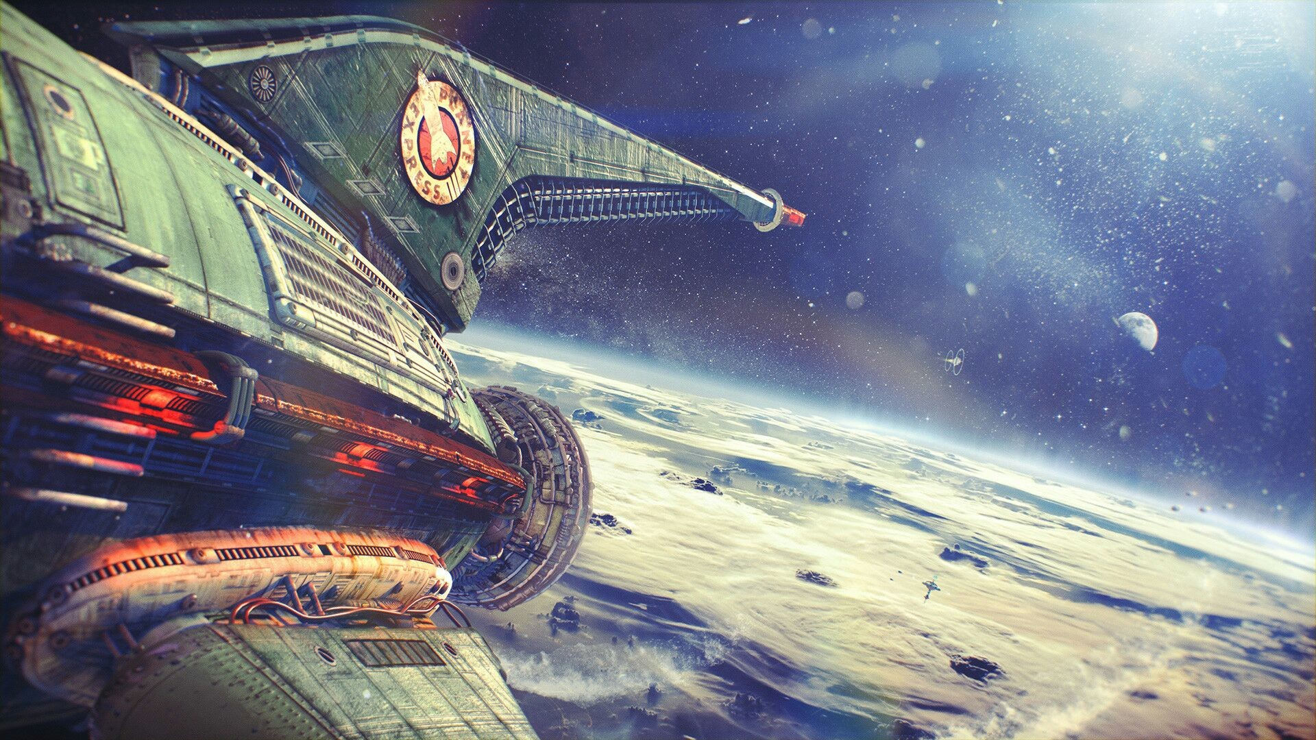1920x1080 Real-Life Futurama Is Gorgeous - Planet Express Ship Leaving Earth (Alexey  Zakharov)