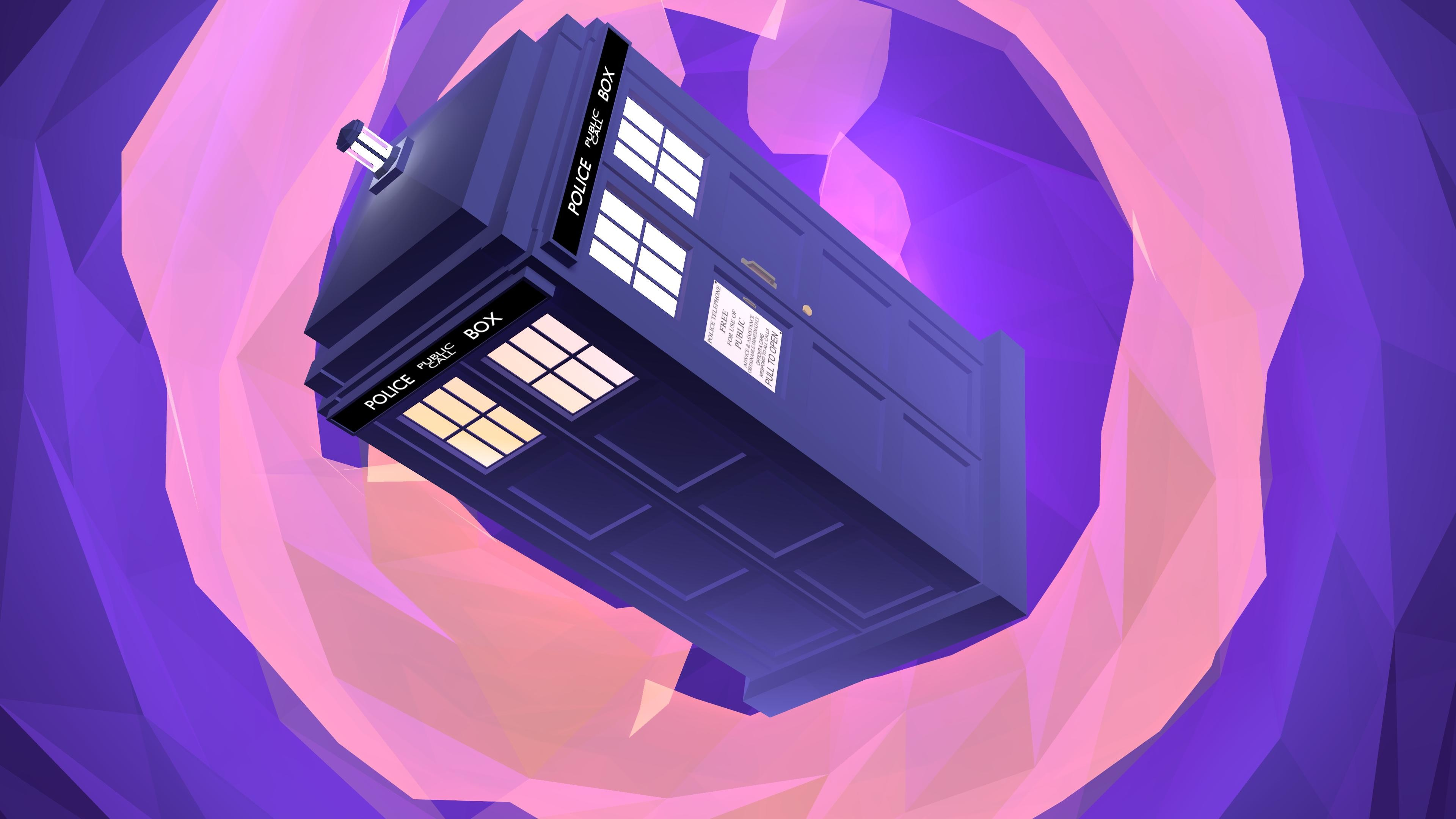 3840x2160 I've been playing with Low Poly modeling. Made the Tardis in the Time Vortex .