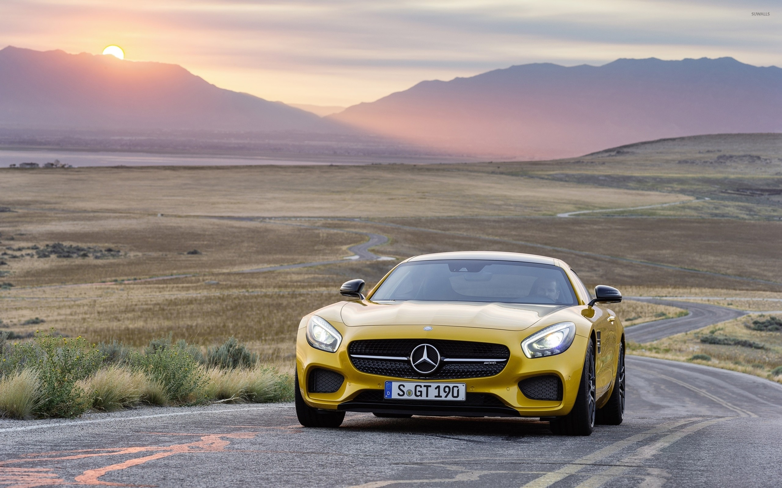 2560x1600 Yellow Mercedes-Benz SLS AMG at sunset wallpaper