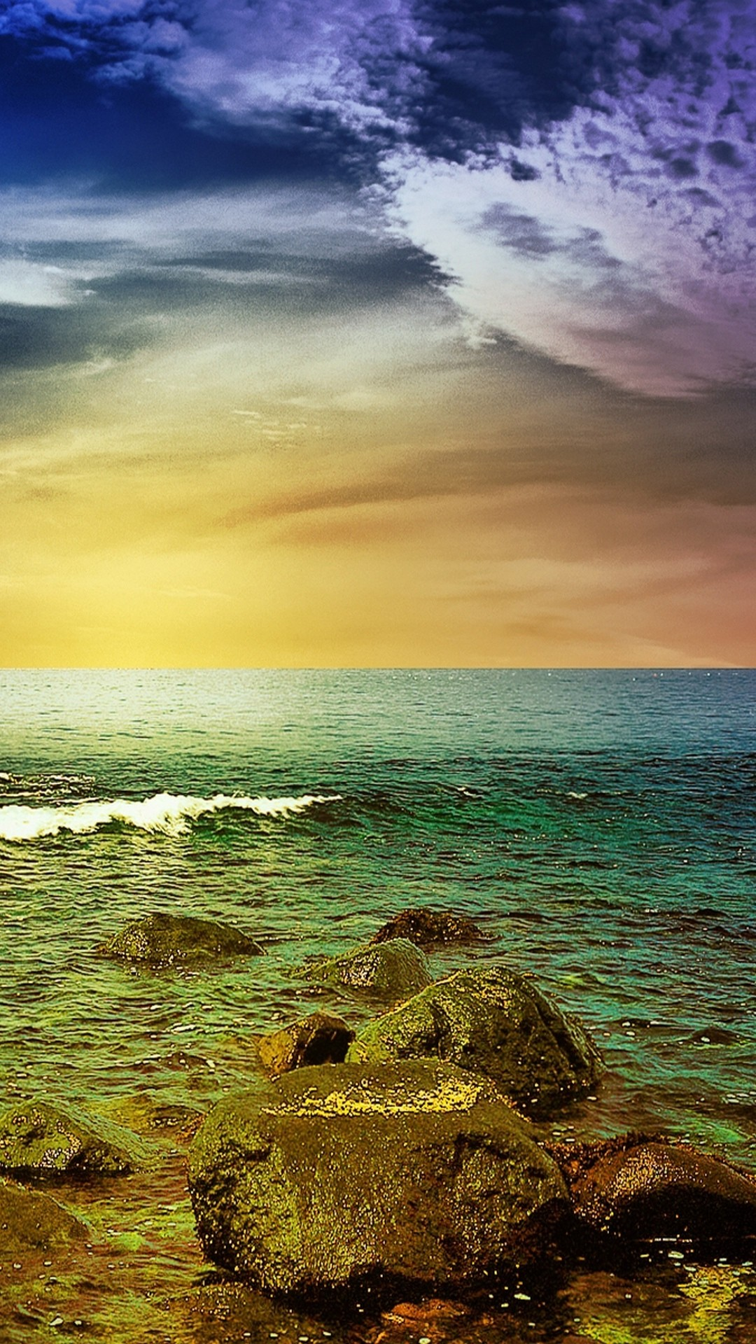 1080x1920 Stormy Sea Rocks Sunset Android Wallpaper ...