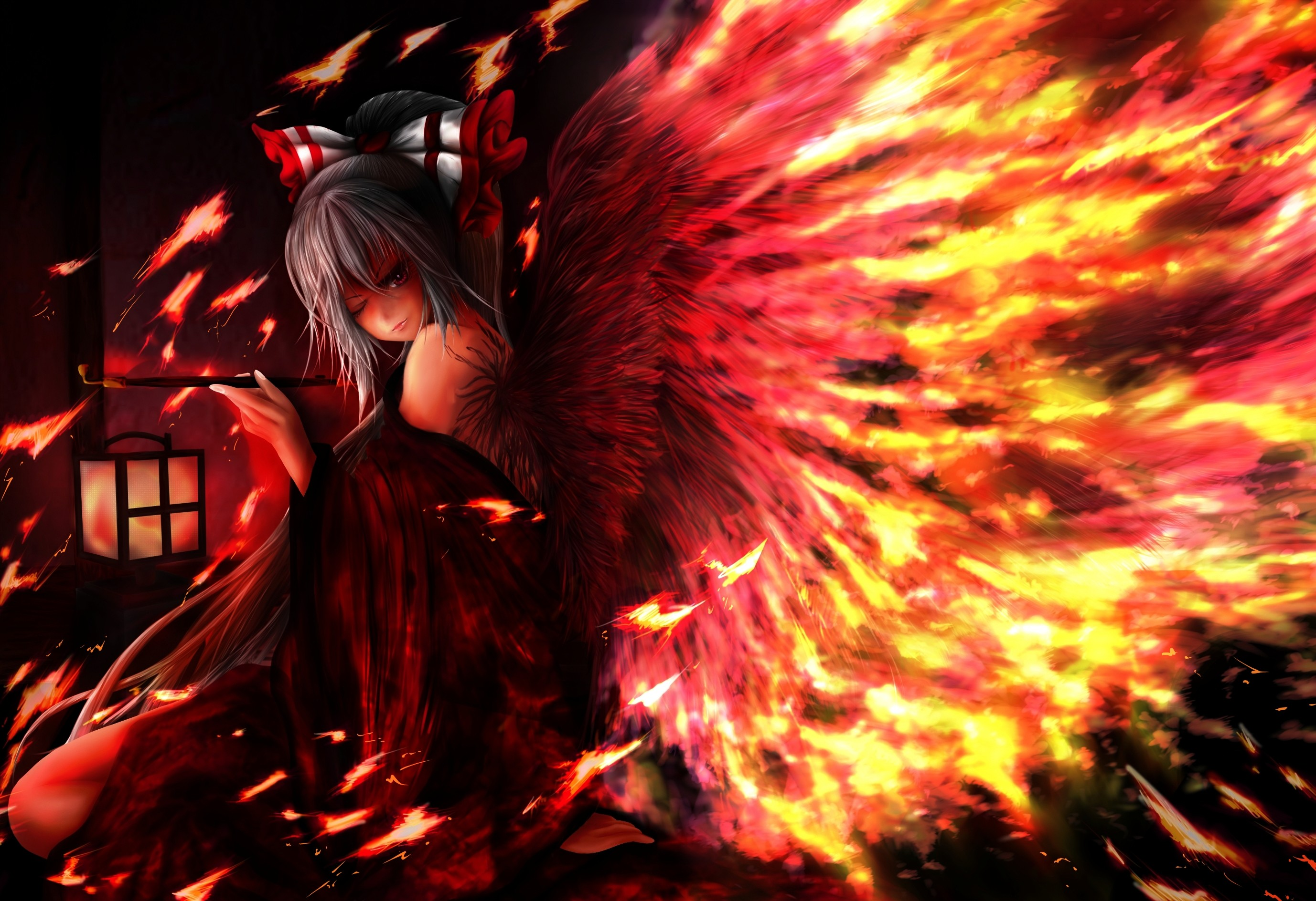 2755x1889 Touhou fantasy vector art angels fire wings girl gothic dark horror  wallpaper |  | 31434 | WallpaperUP