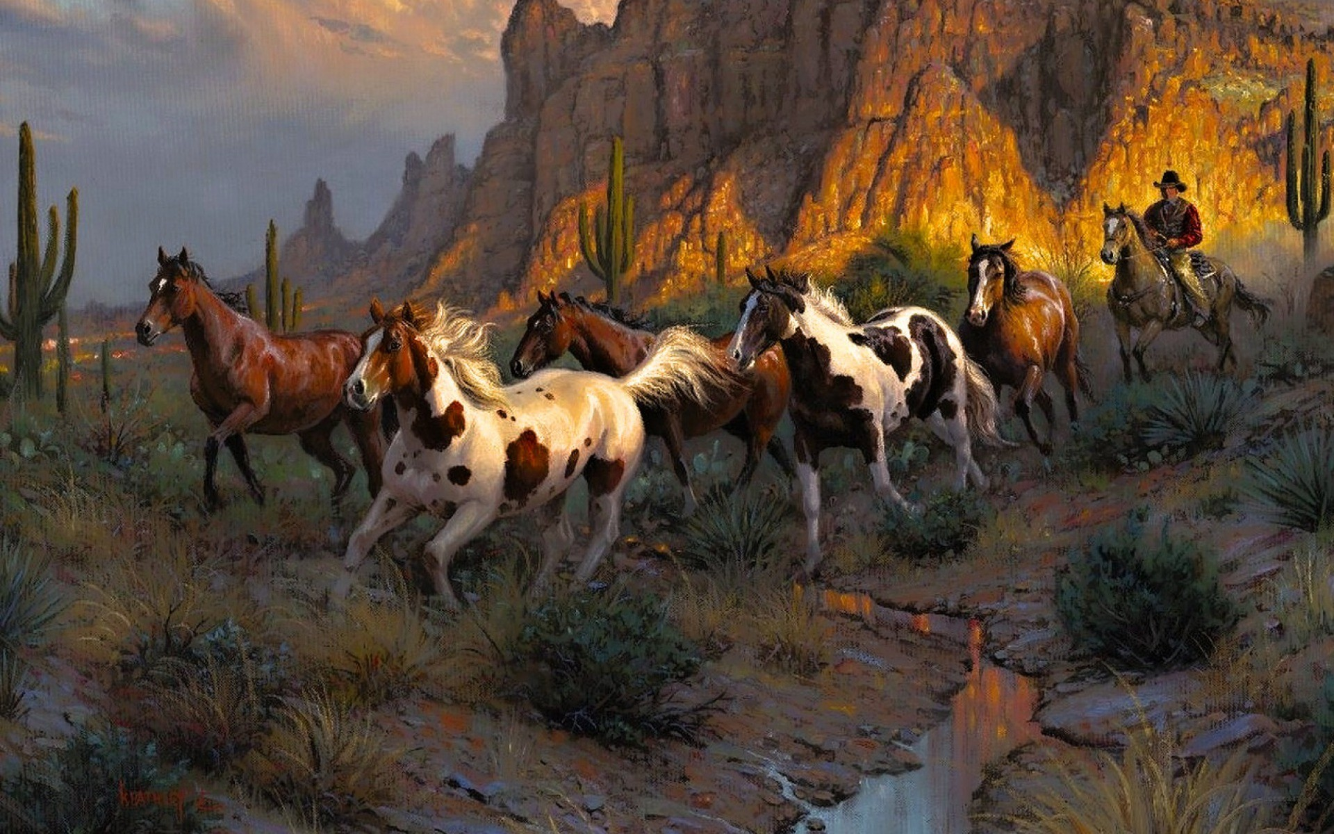 1920x1200 Cowboy Wild Horses Desert wallpapers and stock photos