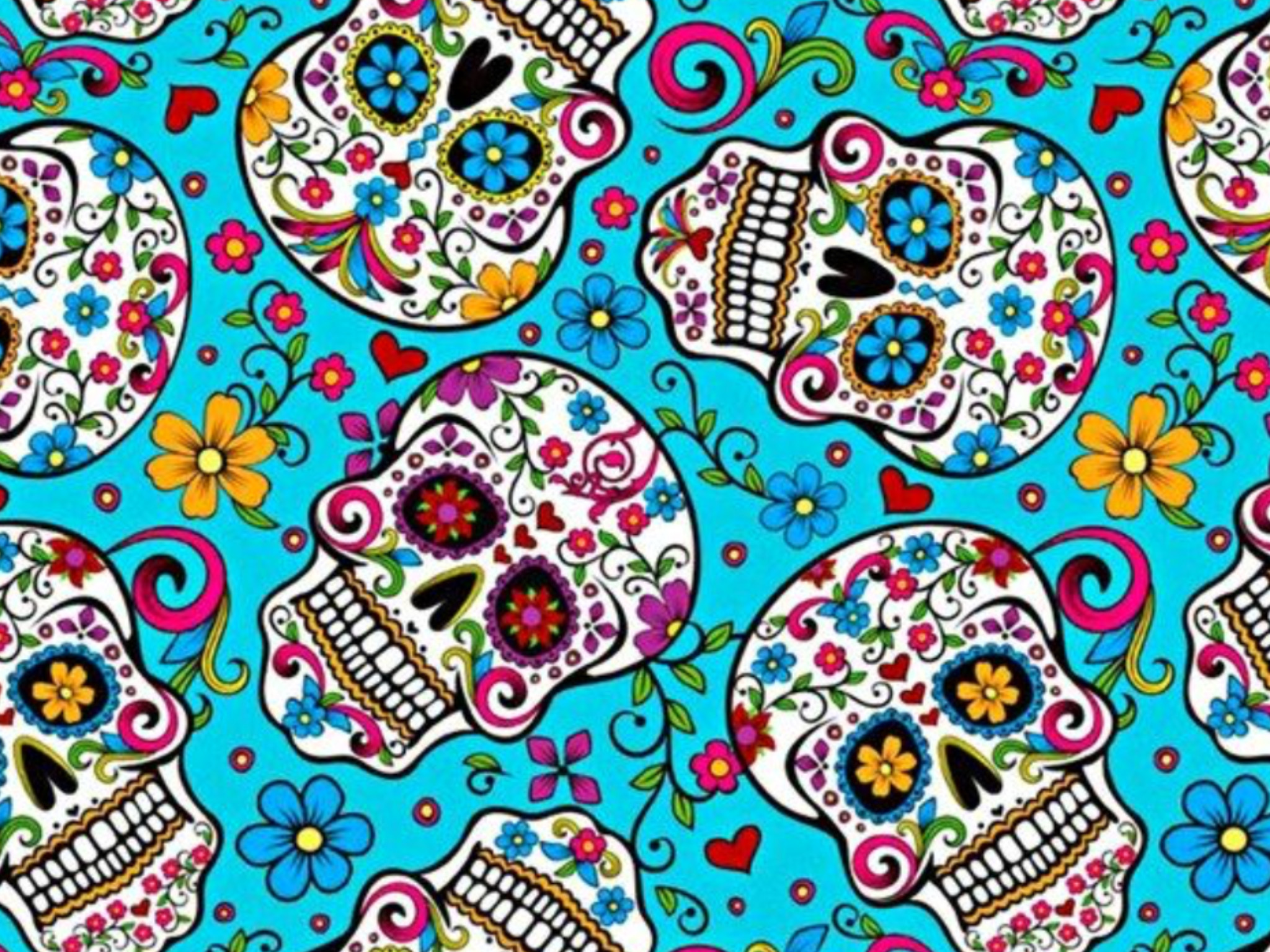 2048x1536 Folkloric Skulls fabric turquoise Sugar Skull Day of the Dead YARD