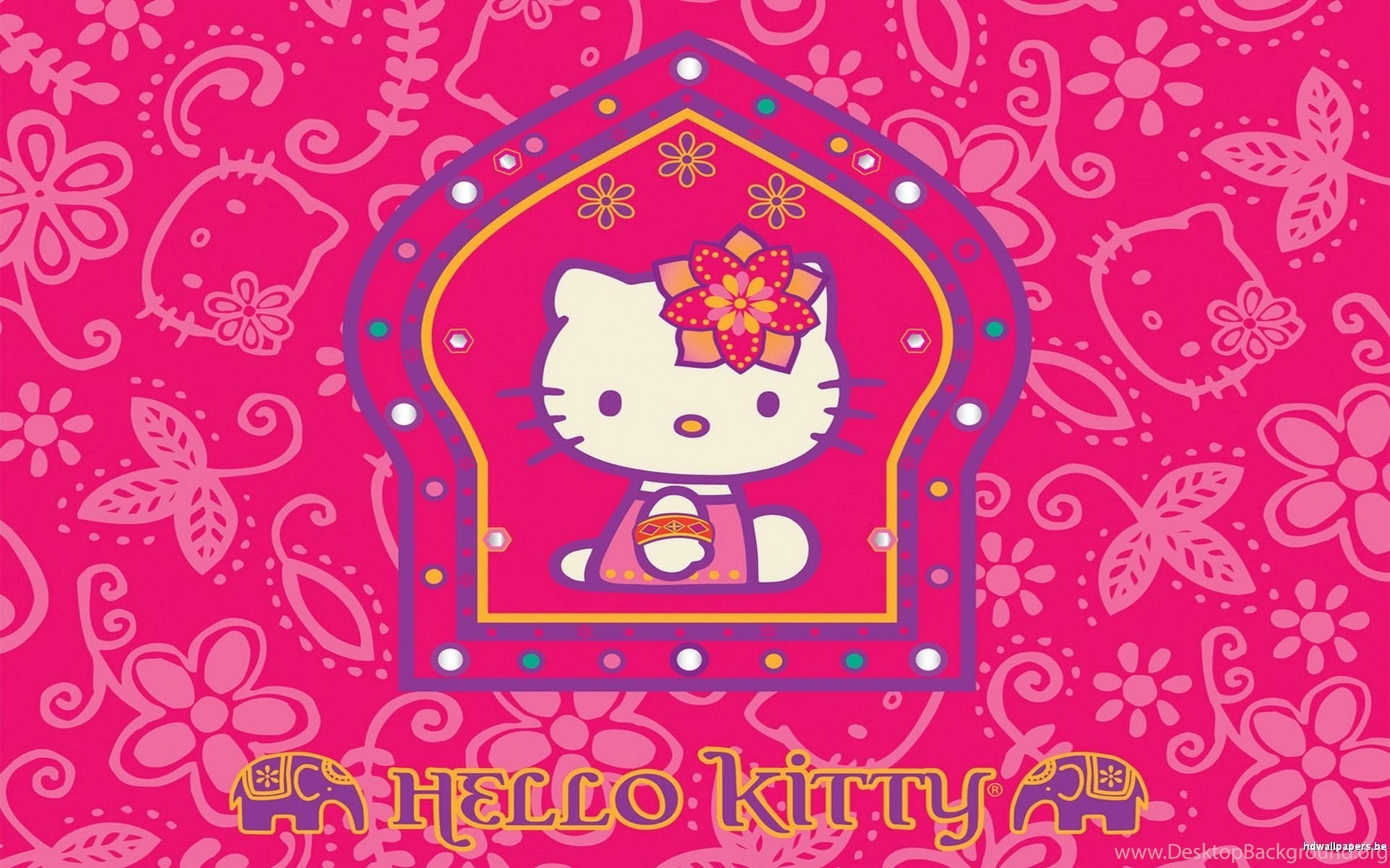 1920x1200 2560x1920 Hello Red Kitty Background Wallpaper