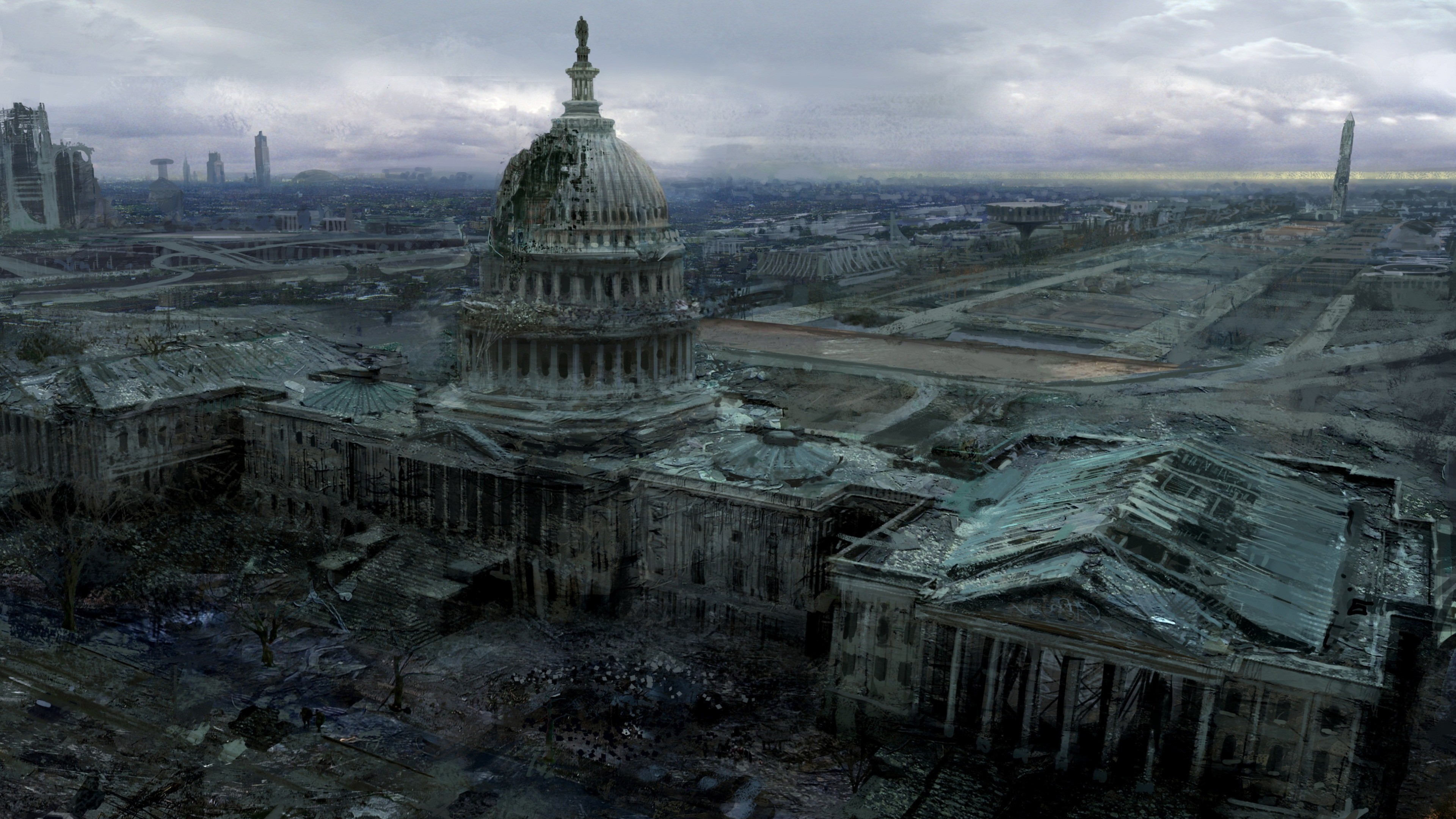 3840x2160 Video Game - Fallout 3 Capitol Post Apocalyptic Fallout Video Game Wallpaper