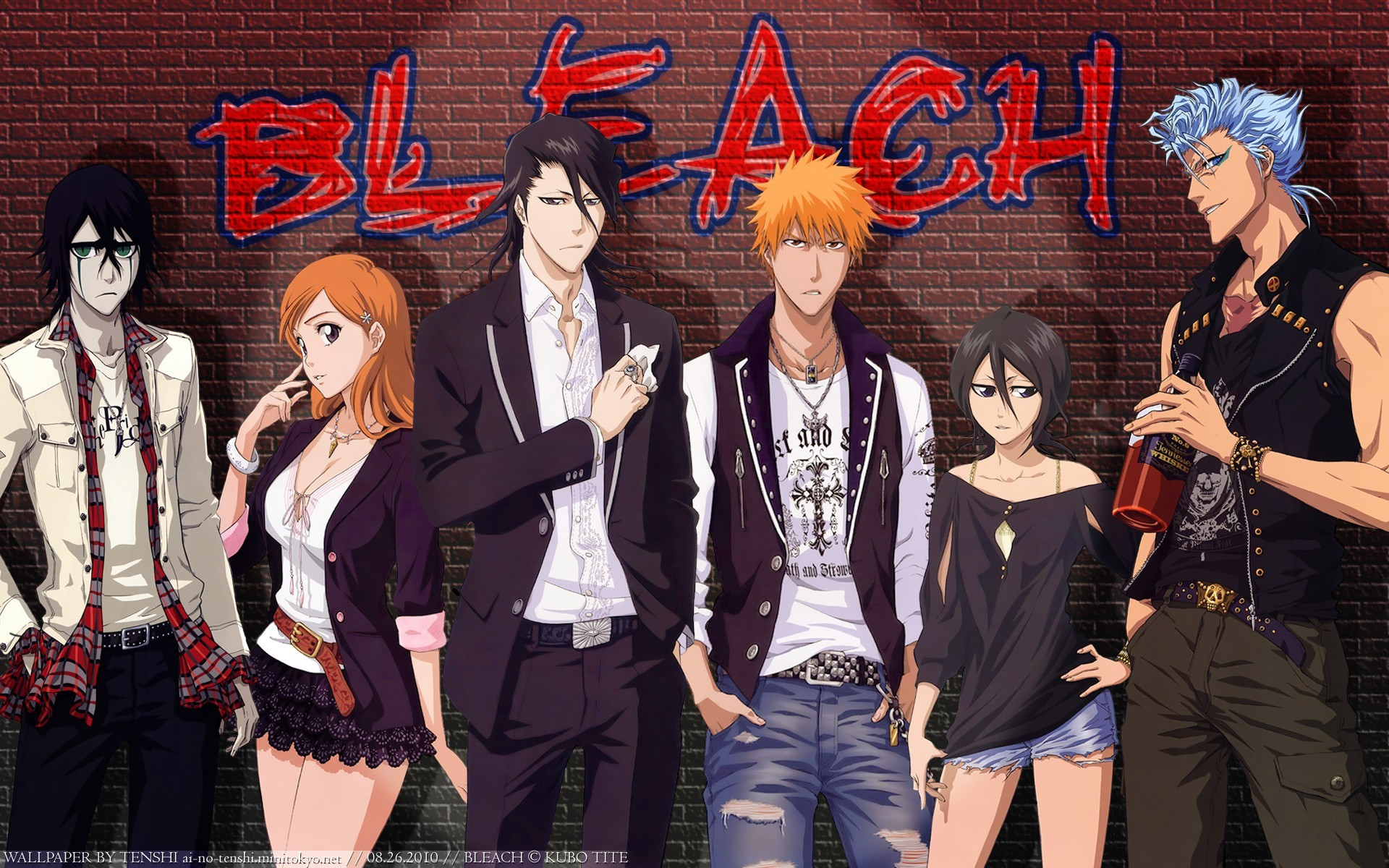 1920x1200 Bleach, Kurosaki Ichigo, Kuchiki Rukia, Ulquiorra Cifer, Inoue Orihime,  Grimmjow Jaegerjaquez, Kuchiki Byakuya, Bricks, Graffiti Wallpapers HD /  Desktop and ...