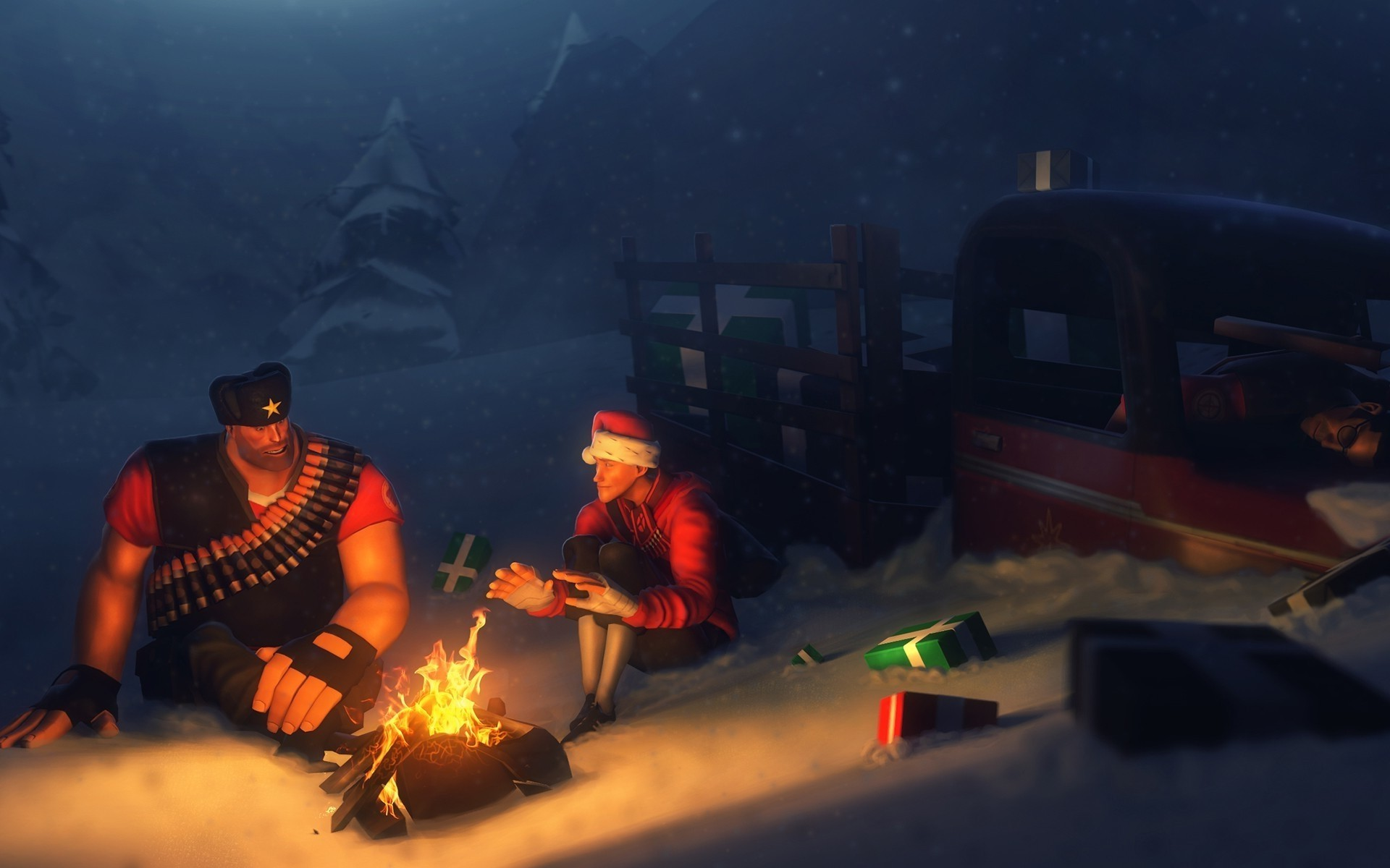 1920x1200 Scout (character), Sniper (TF2), Video Games, Digital Art, Team Fortress 2,  Fire, Camping, Presents, Happy New Year, Truck, Heavy, Snow, Campfire  Wallpapers ...