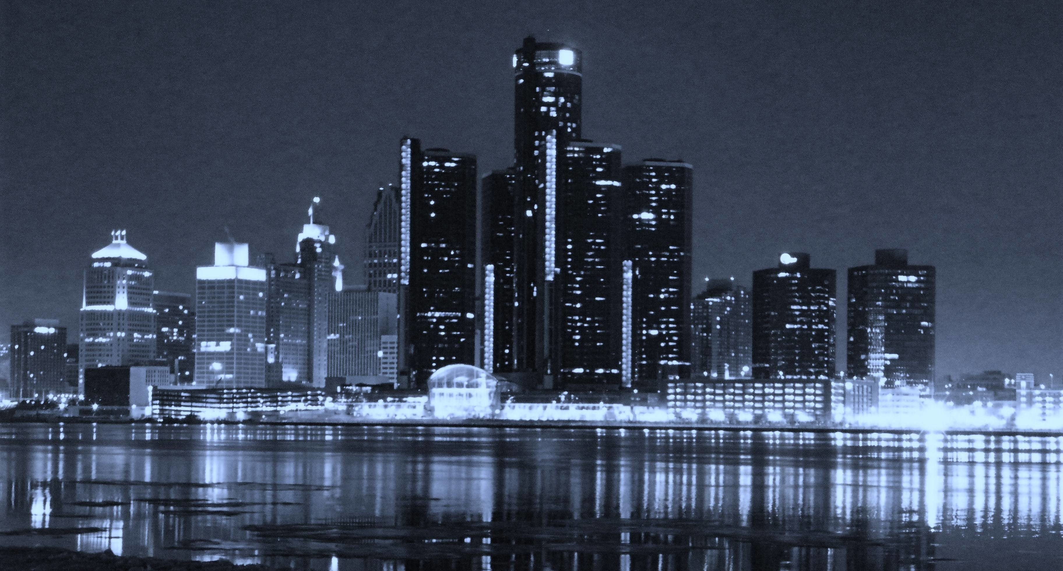 3648x1961 Detroit Skyline Wallpaper Black And White #13650 | Hdwidescreens.