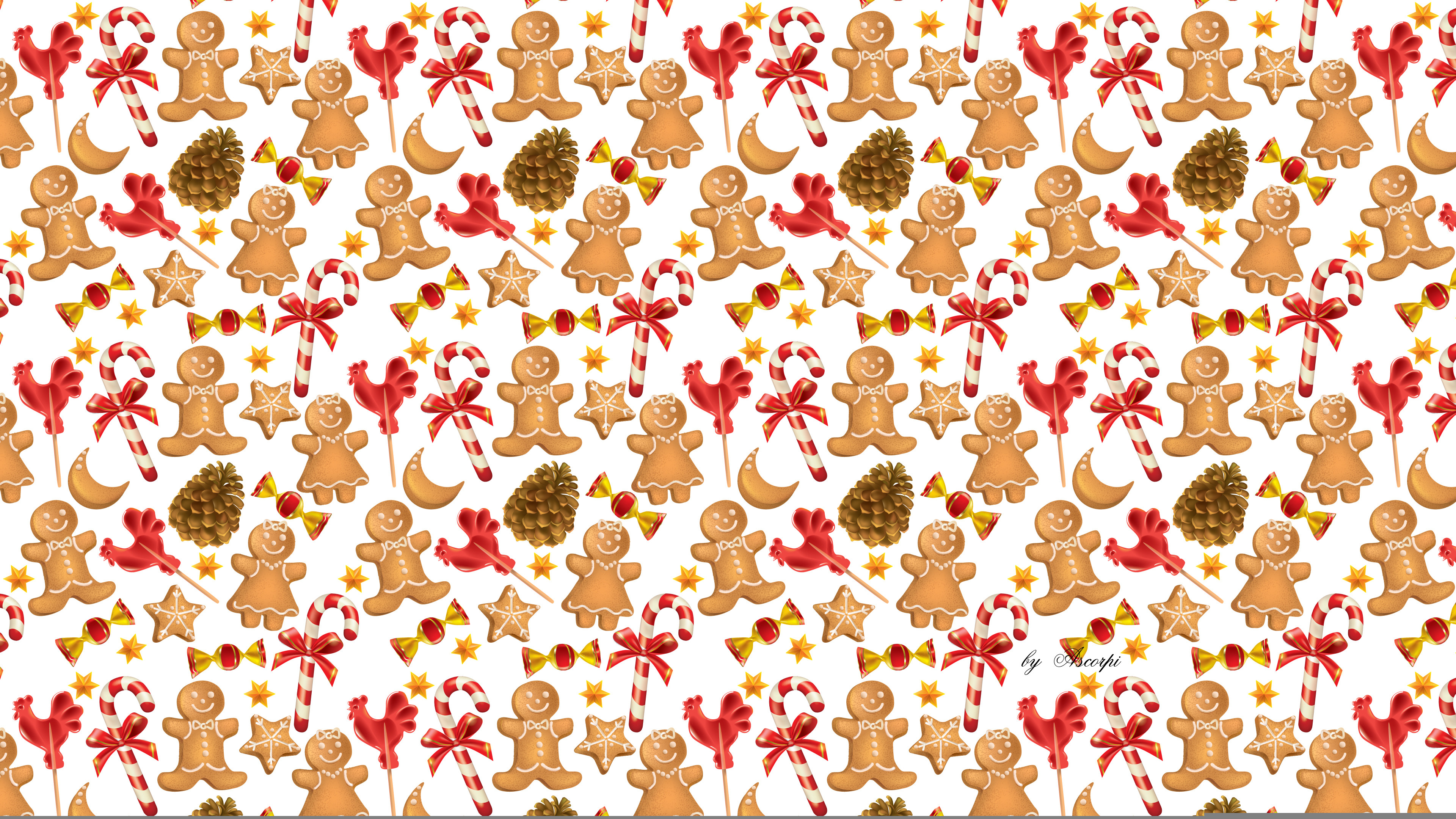 3840x2160 Wallpaper christmas, new year, the gingerbread man, candy .