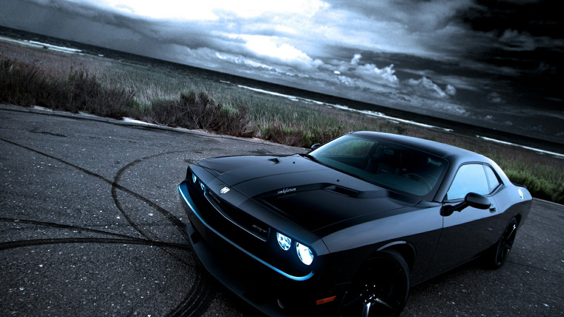 1920x1080 American Black Cars Dodge Dodge Challenger Dodge Challenger Srt Front Angle  View Muscle Cars. hd muscle car wallpapers  danasrfitop