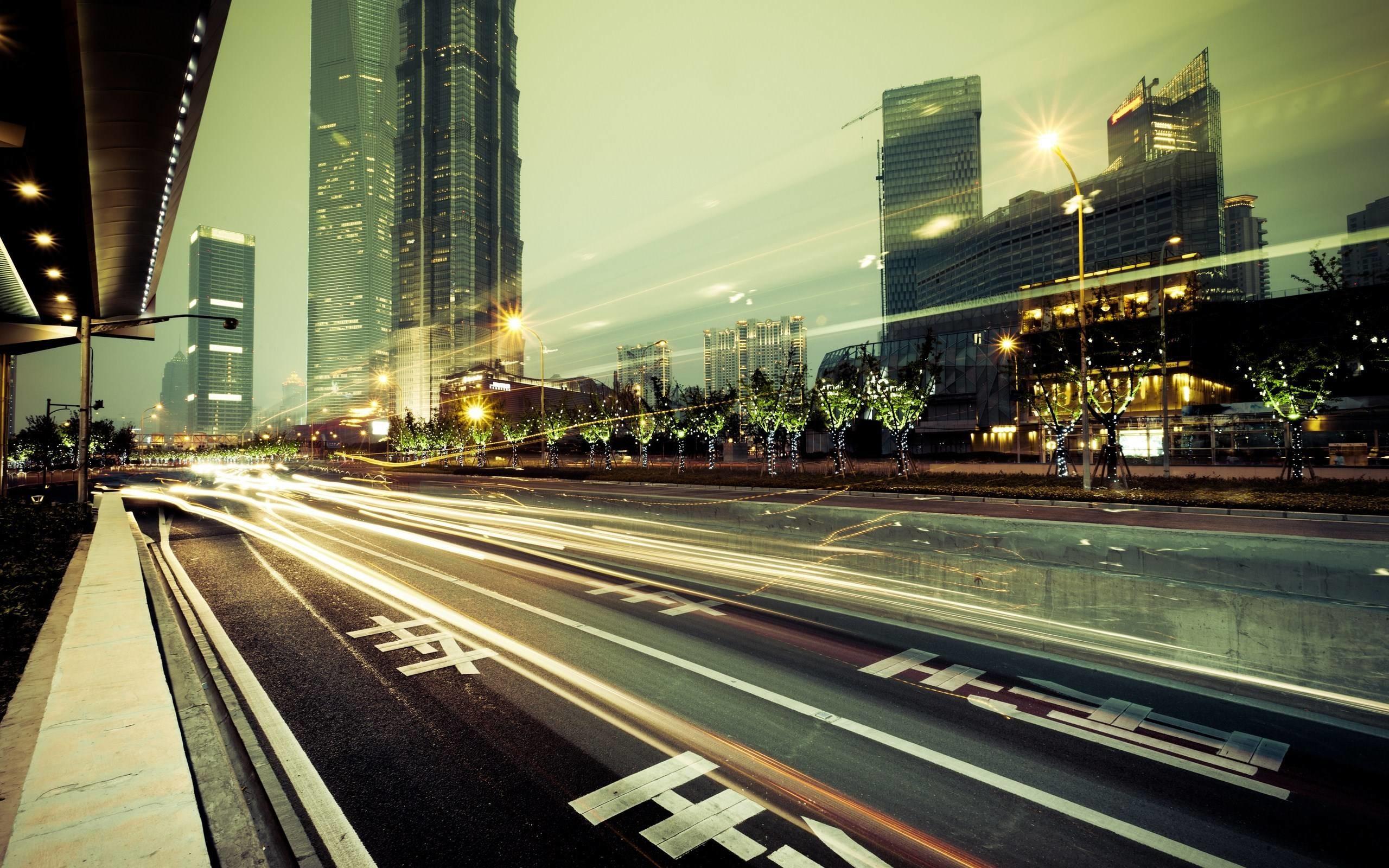 2560x1600 City Street Lights HD Wallpaper