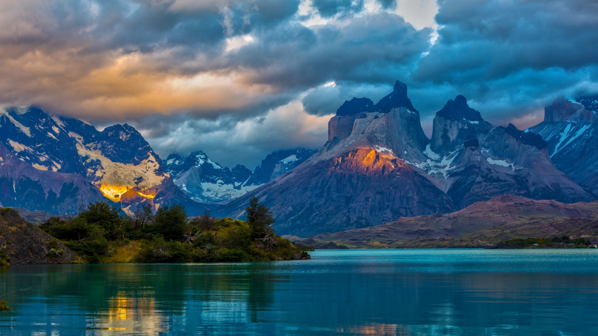 1920x1080 Preview wallpaper landscape, argentina, mountain, lake, patagonia, clouds,  nature
