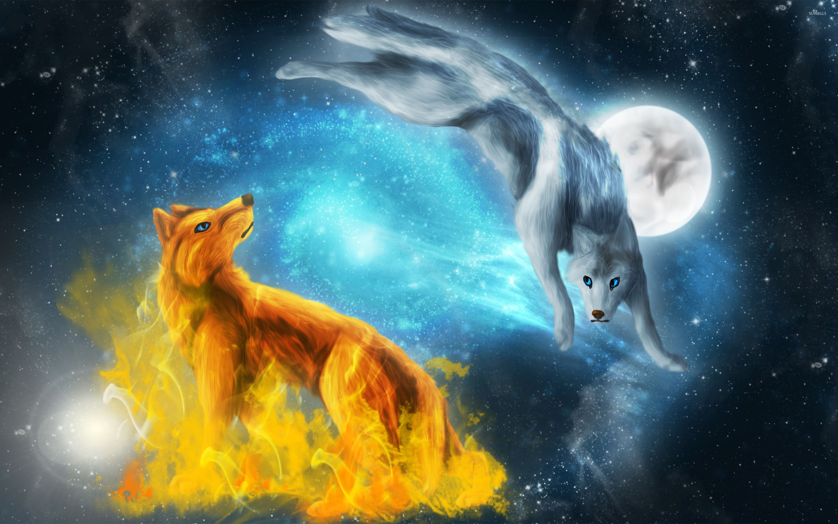 2880x1800 Fire And Ice Wolves Wallpaper