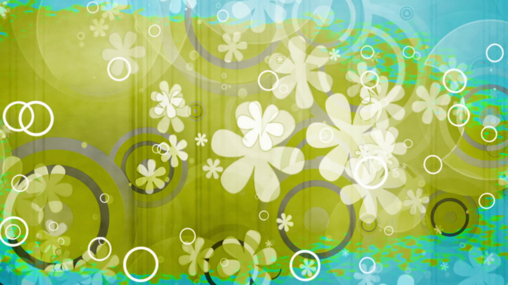 1920x1080 Color rip retro flowers and shapes looping green and blue abstract animated  CG background