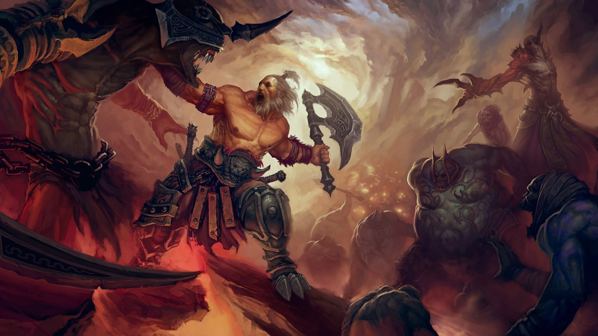 1920x1080 painting, Illustration, Fantasy Art, Diablo III, Barbarian Wallpapers HD /  Desktop and Mobile Backgrounds