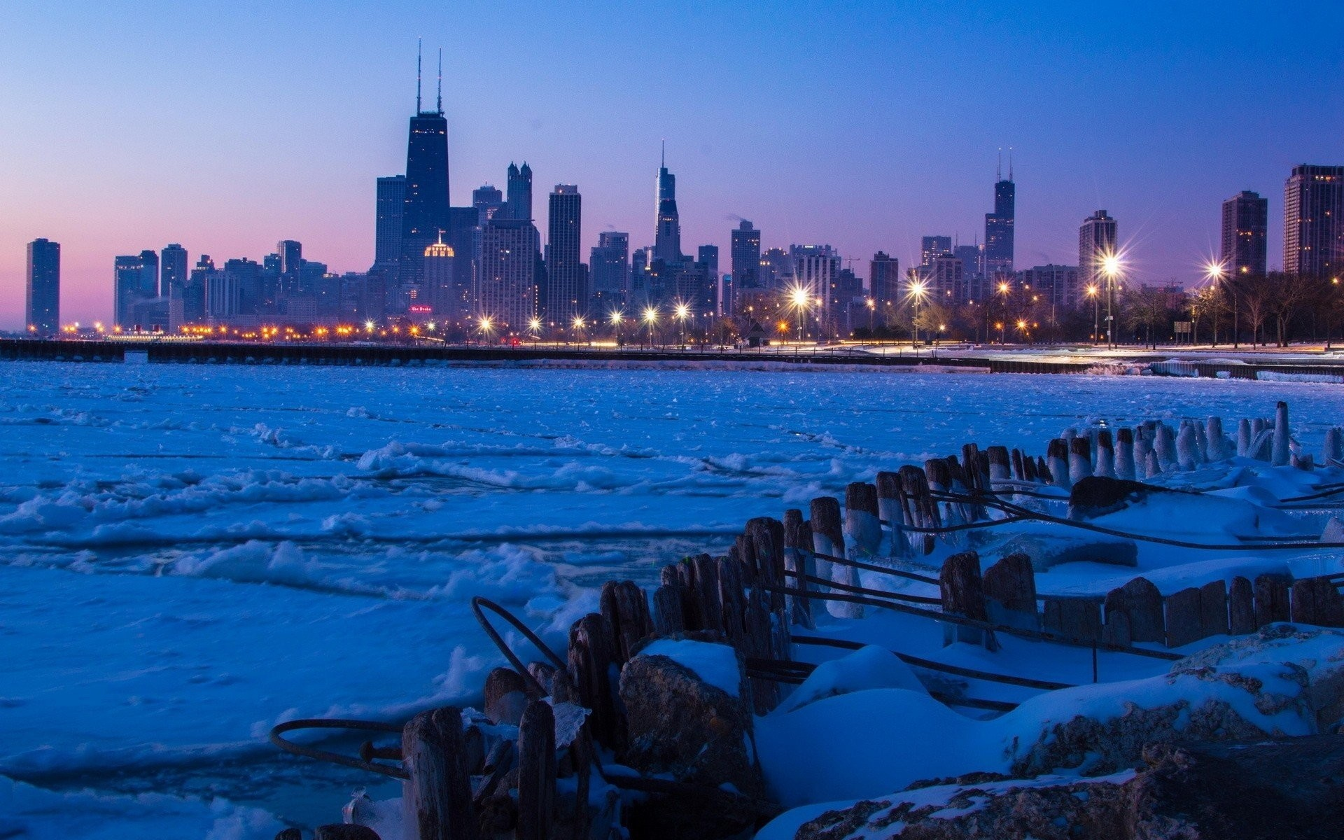 1920x1200 ... winter night town chicago hd wallpaper ...